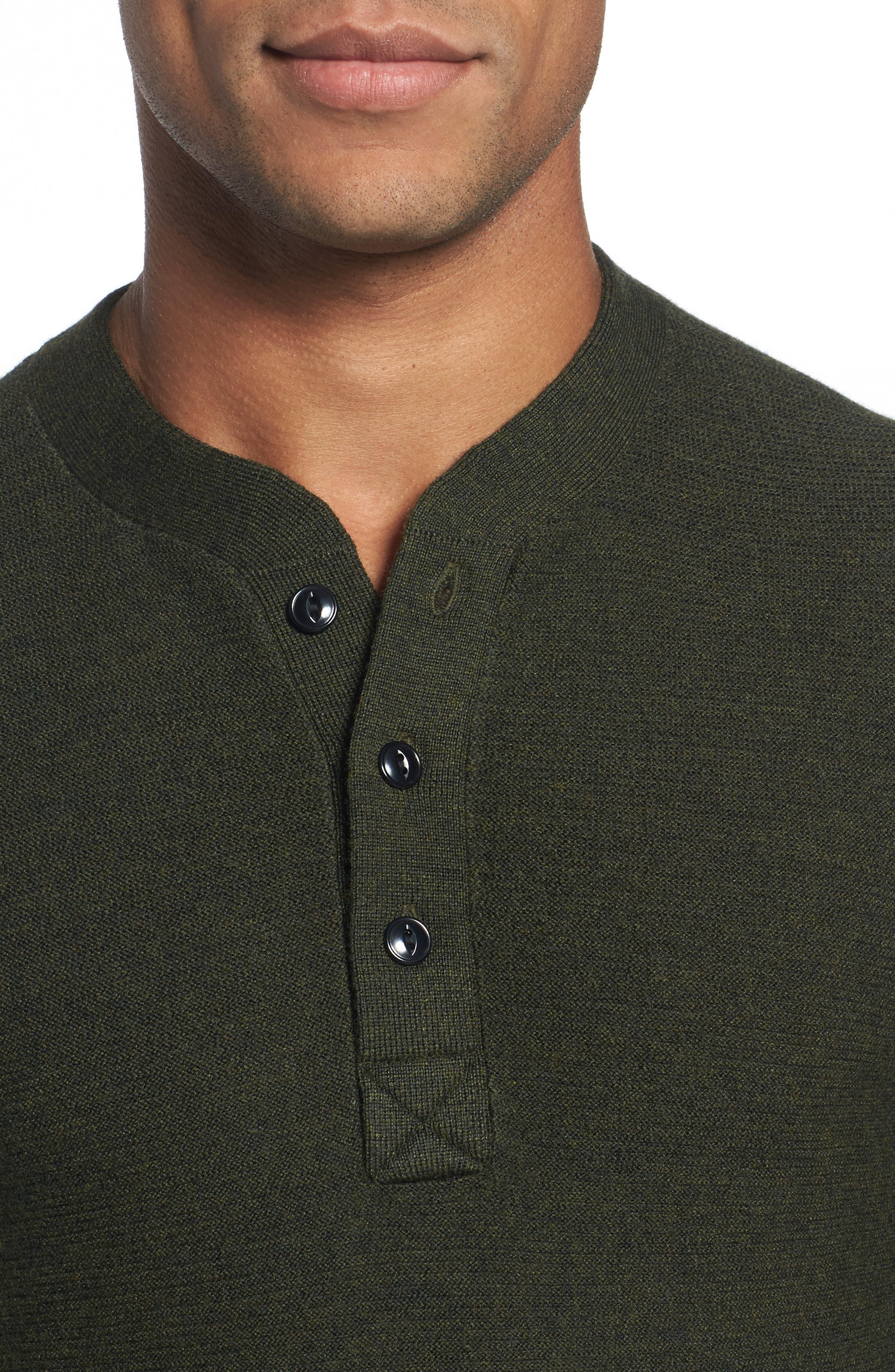 Slim Fit Merino Long Sleeve Henley Sweater,                             Alternate thumbnail 4, color,                             300