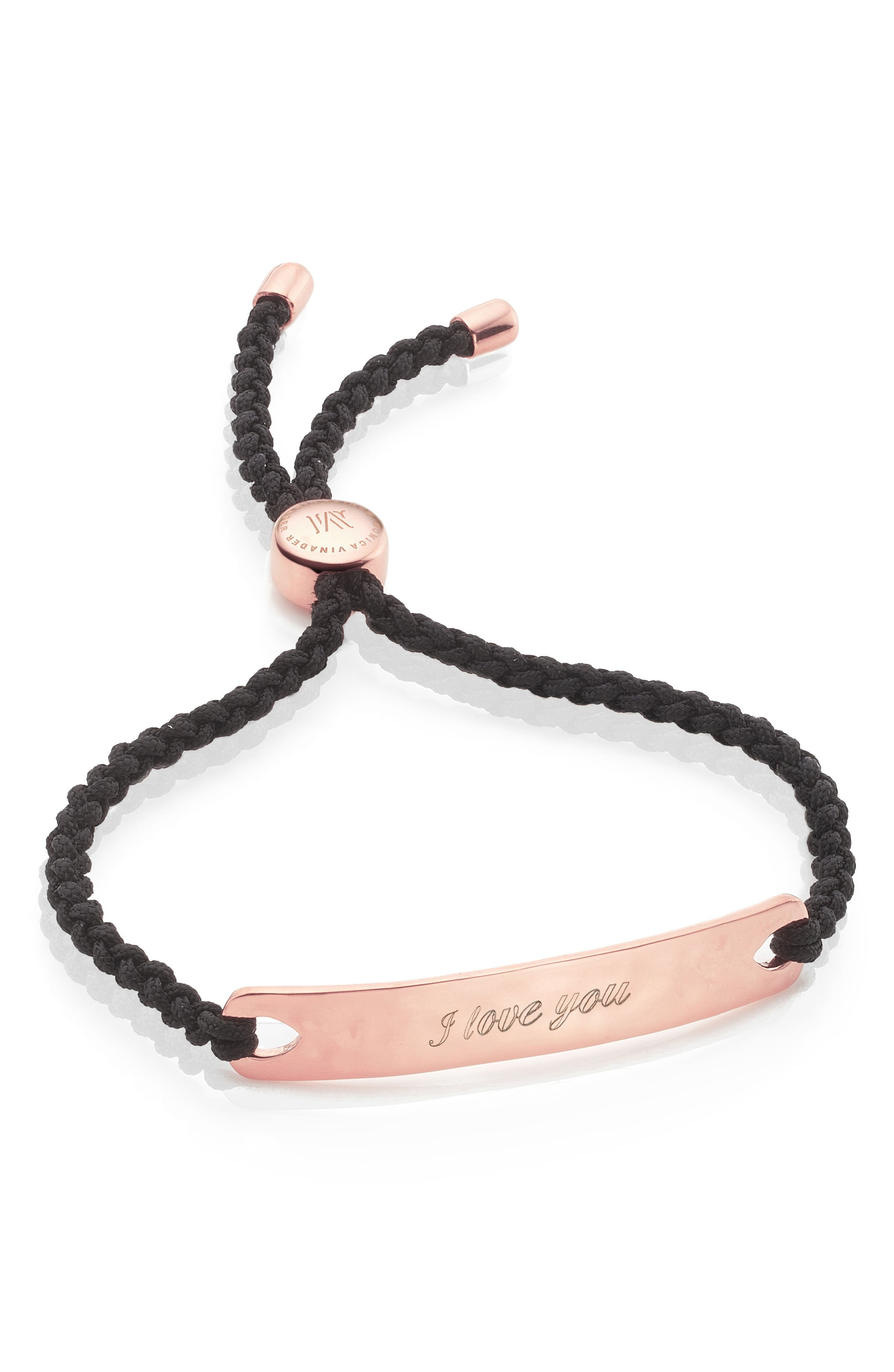 Engravable HavanaFriendship Bracelet,                             Alternate thumbnail 2, color,                             ROSE GOLD/ BLACK