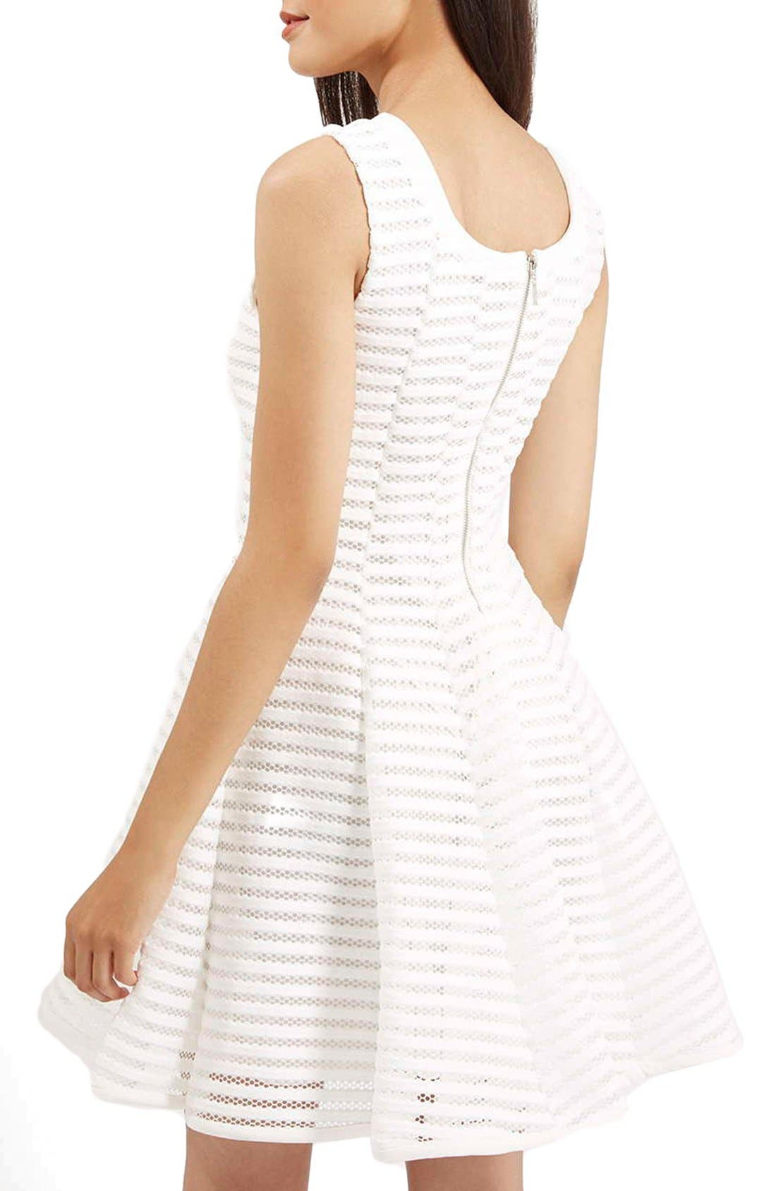 TOPSHOP,                             'Ozoi' StripeMesh Skater Dress,                             Alternate thumbnail 3, color,                             100