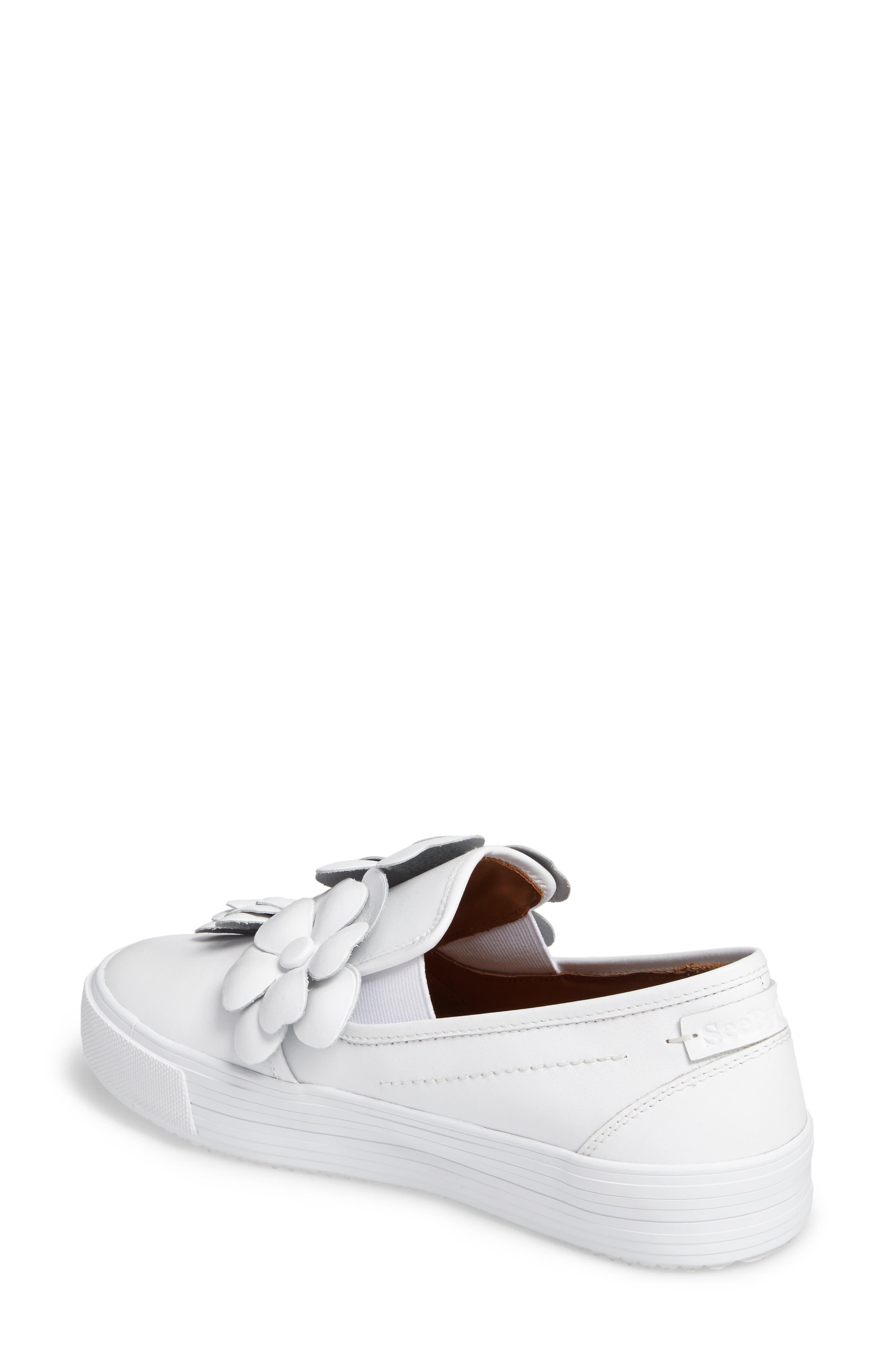 Vera Floral Appliqué Slip-On Sneaker,                             Alternate thumbnail 2, color,                             WHITE
