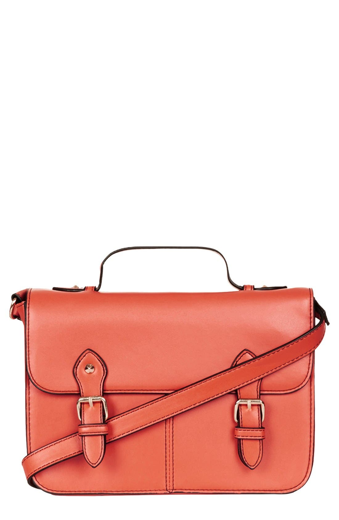 'Edge Paint' Faux Leather Satchel, Small, Main, color, 220