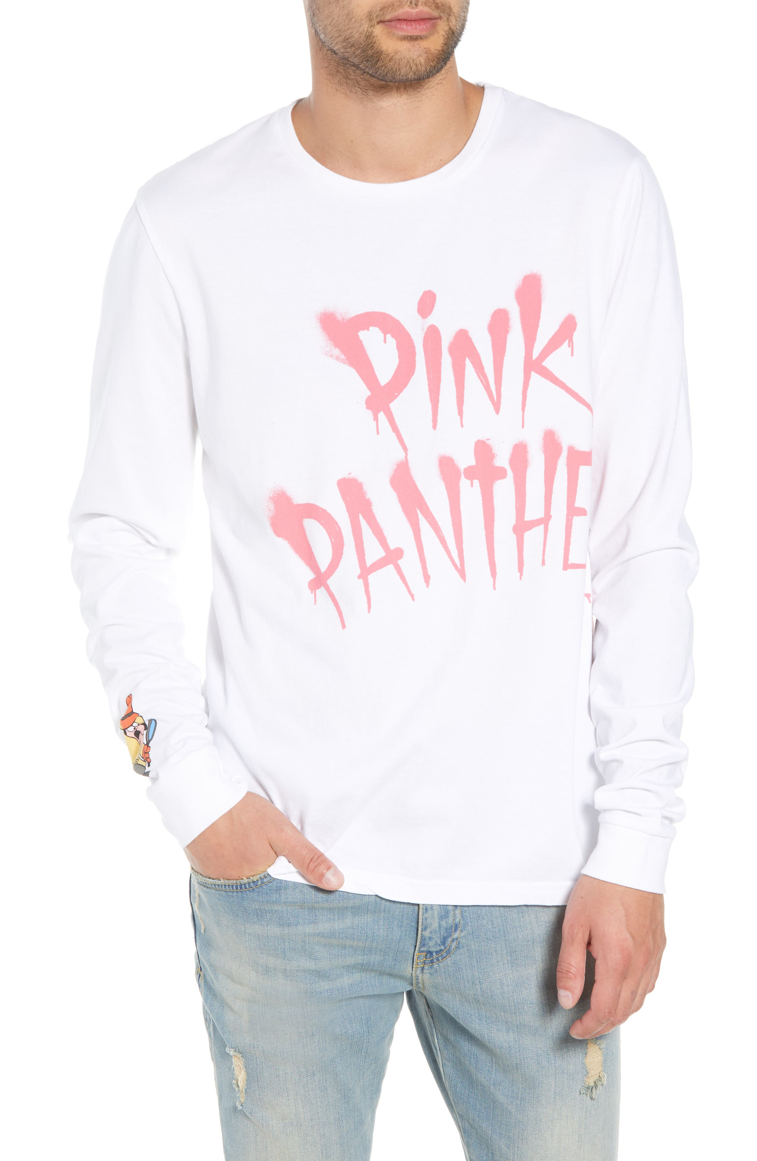 Pink Panther Graphic Long Sleeve T-Shirt,                             Main thumbnail 1, color,                             WHITE