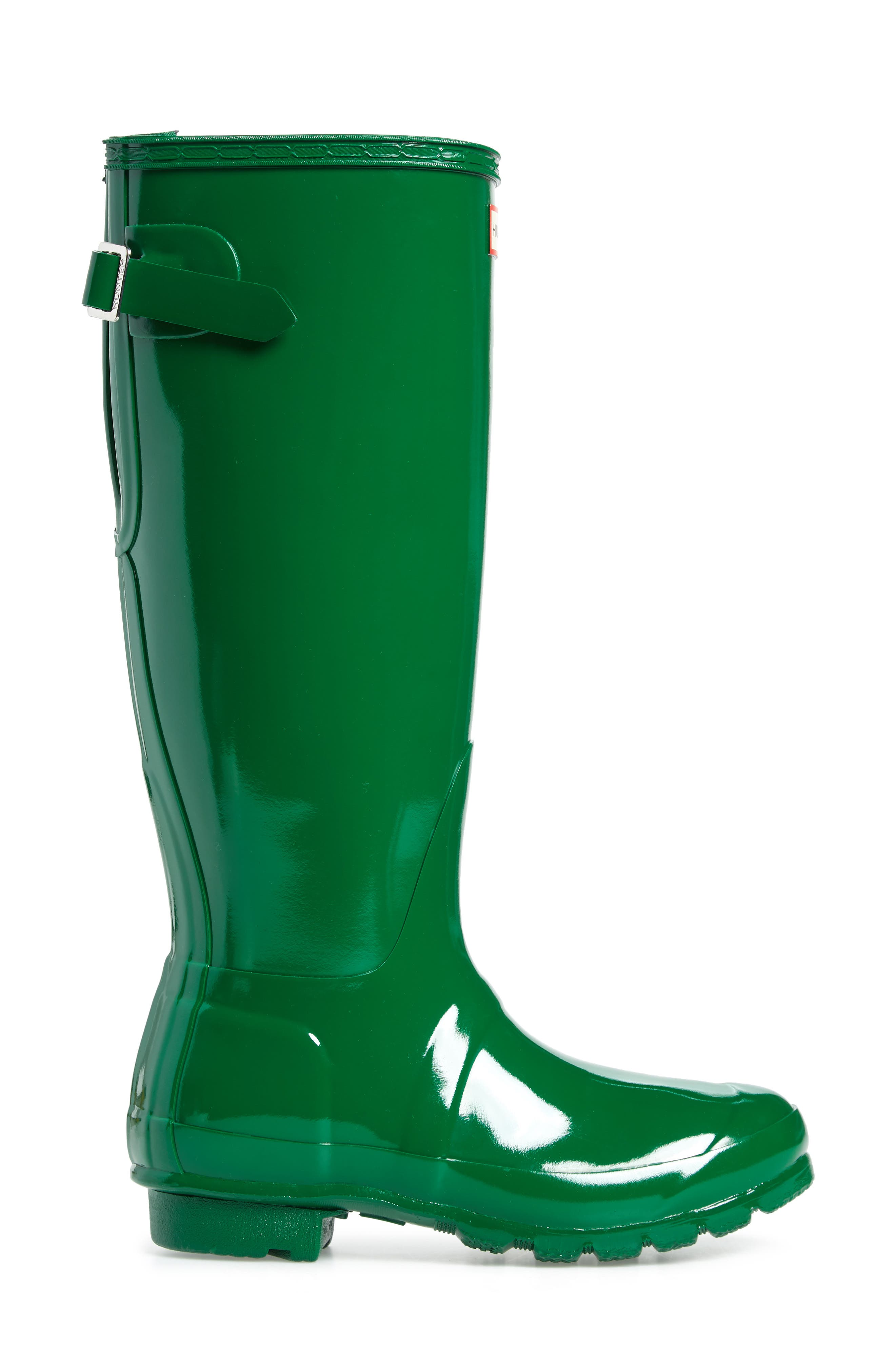 Adjustable Back Gloss Waterproof Rain Boot,                             Alternate thumbnail 3, color,                             360