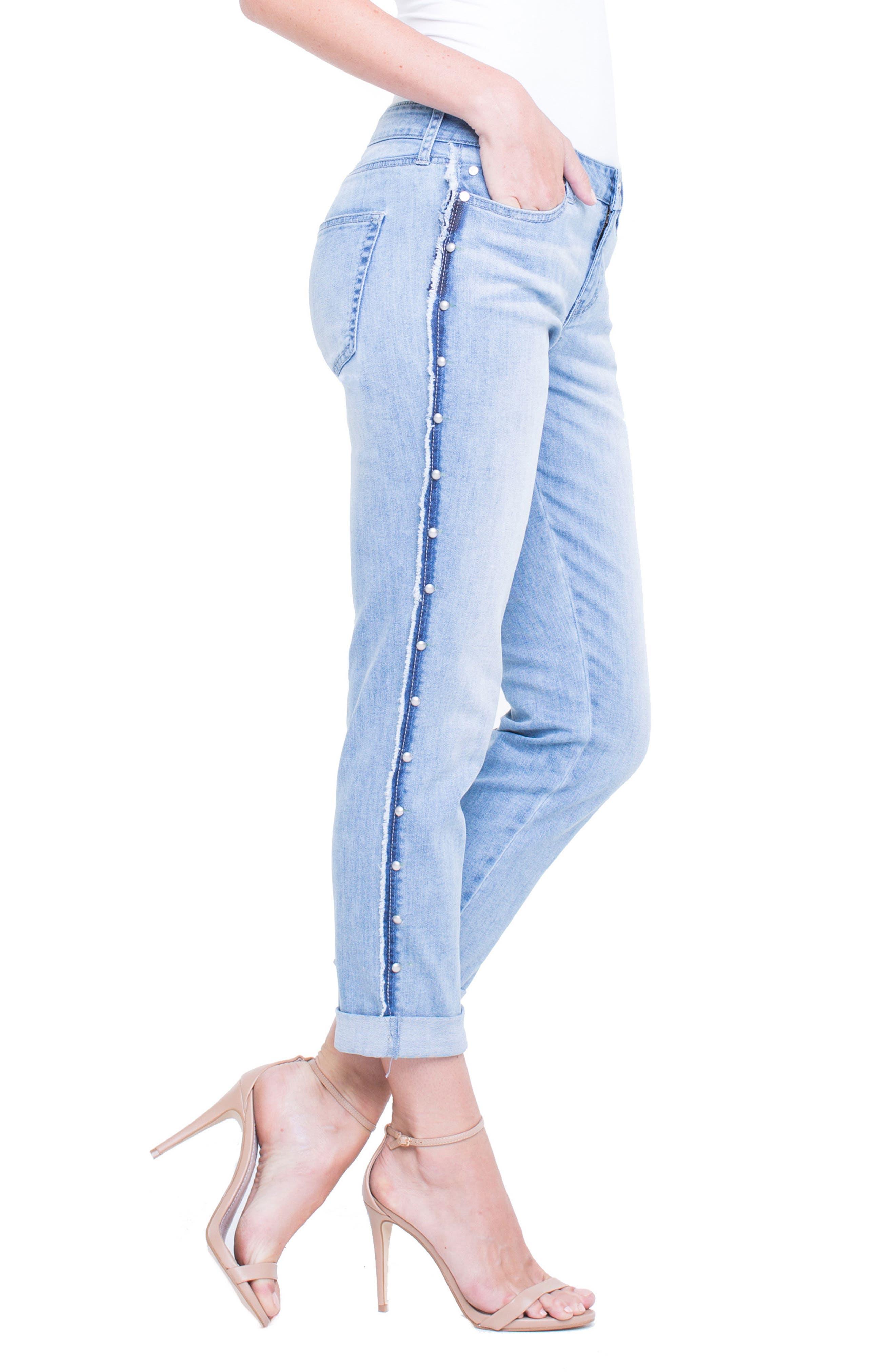 Perry Slim Side Stud Boyfriend Jeans,                             Alternate thumbnail 3, color,                             401