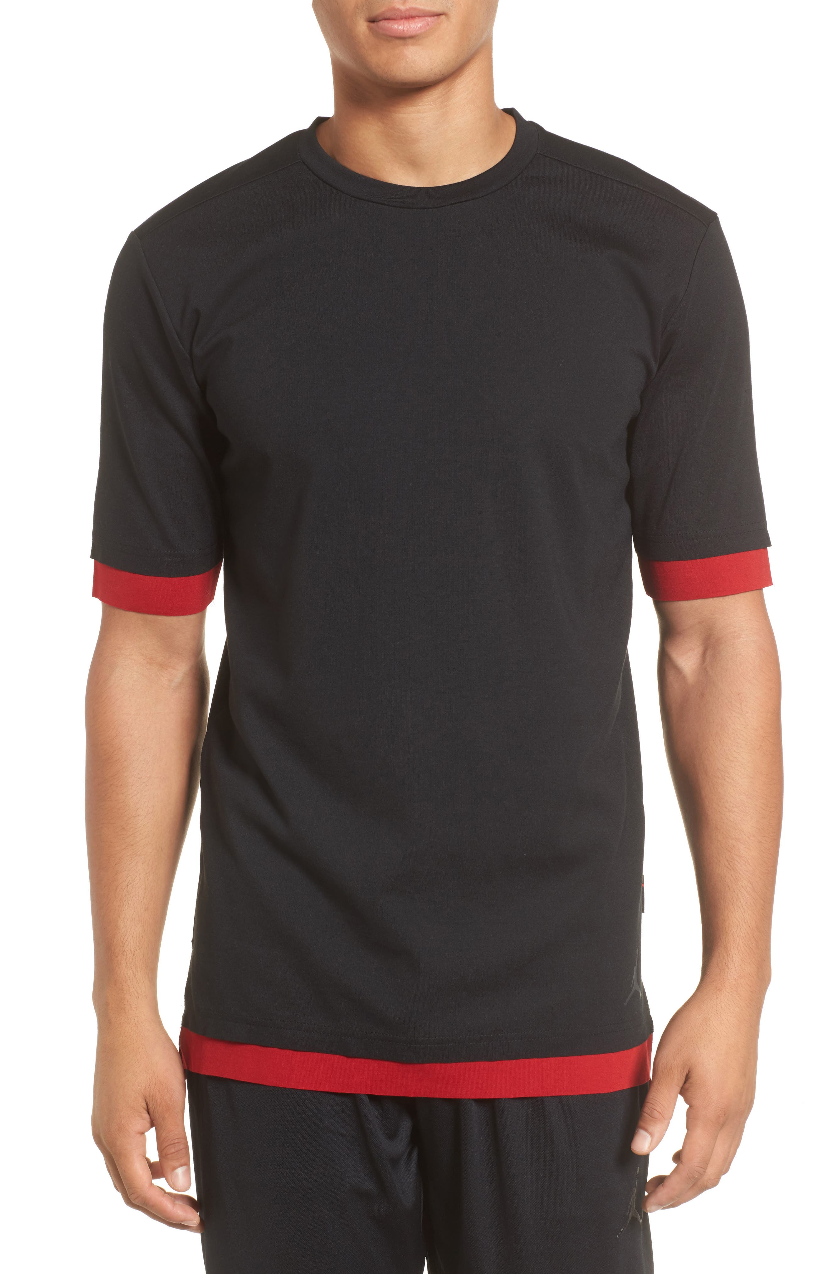 Sportswear Tech T-Shirt,                         Main,                         color, BLACK/ GYM RED/ ANTHRACITE