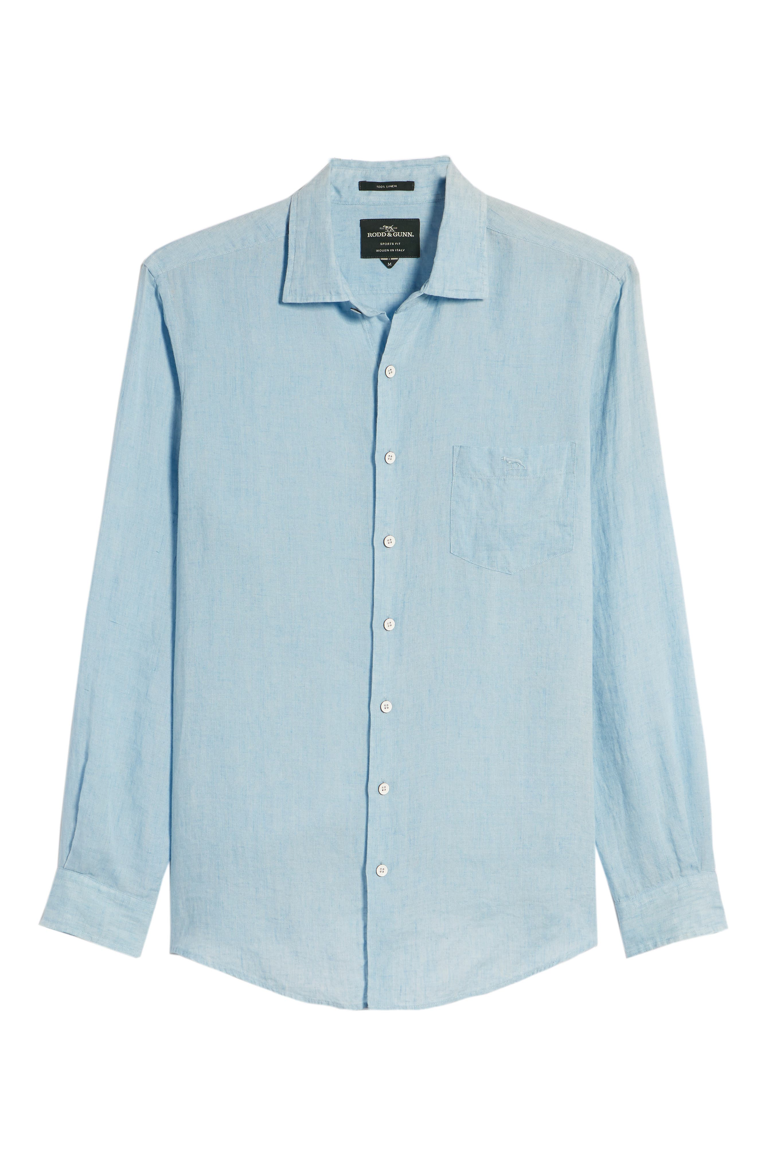 Harris Bay Regular Fit Linen Sport Shirt,                             Alternate thumbnail 6, color,                             STONEWASH