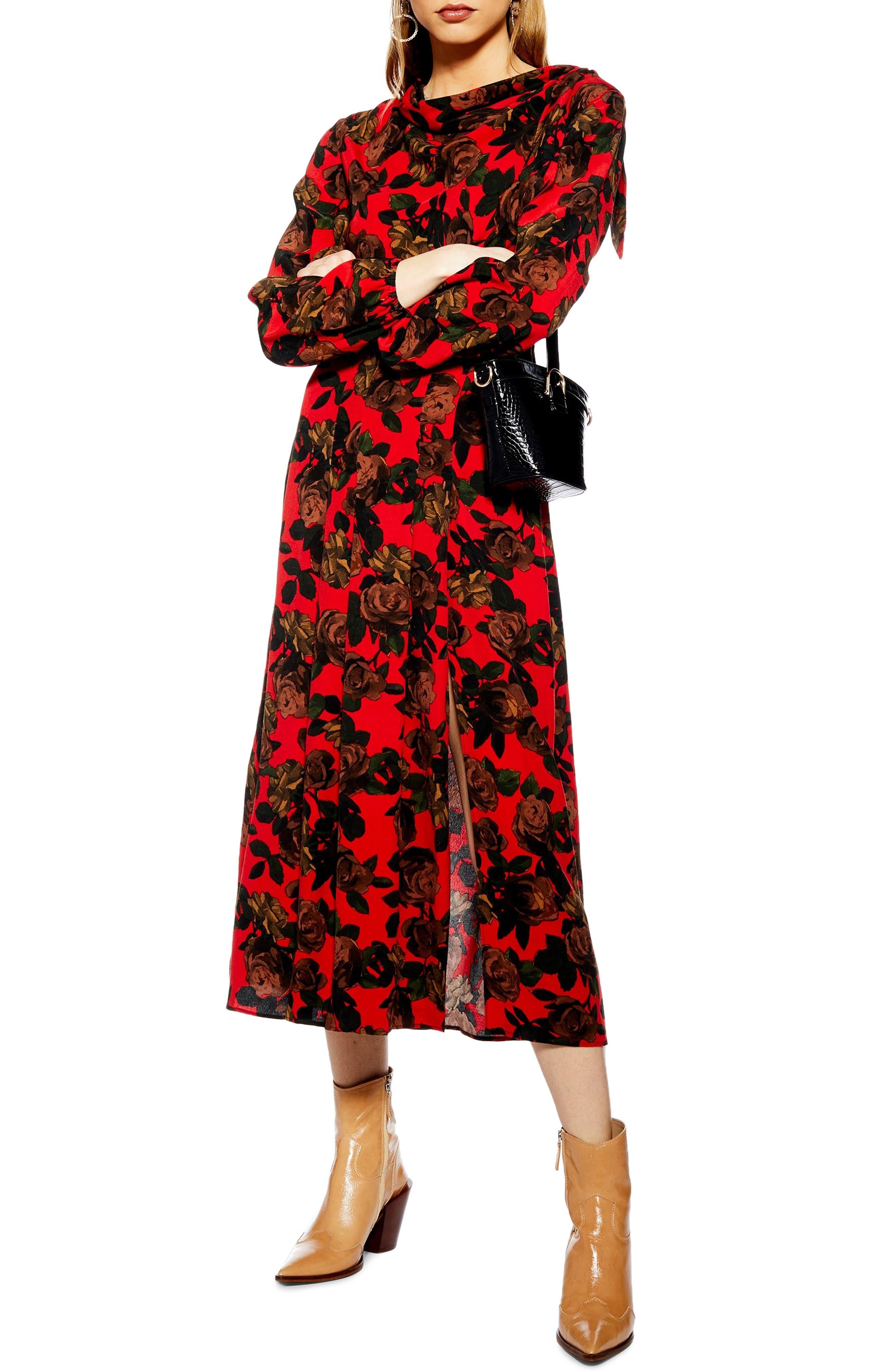 TOPSHOP Rose Cut Tie Neck Midi Dress, Main, color, RED MULTI