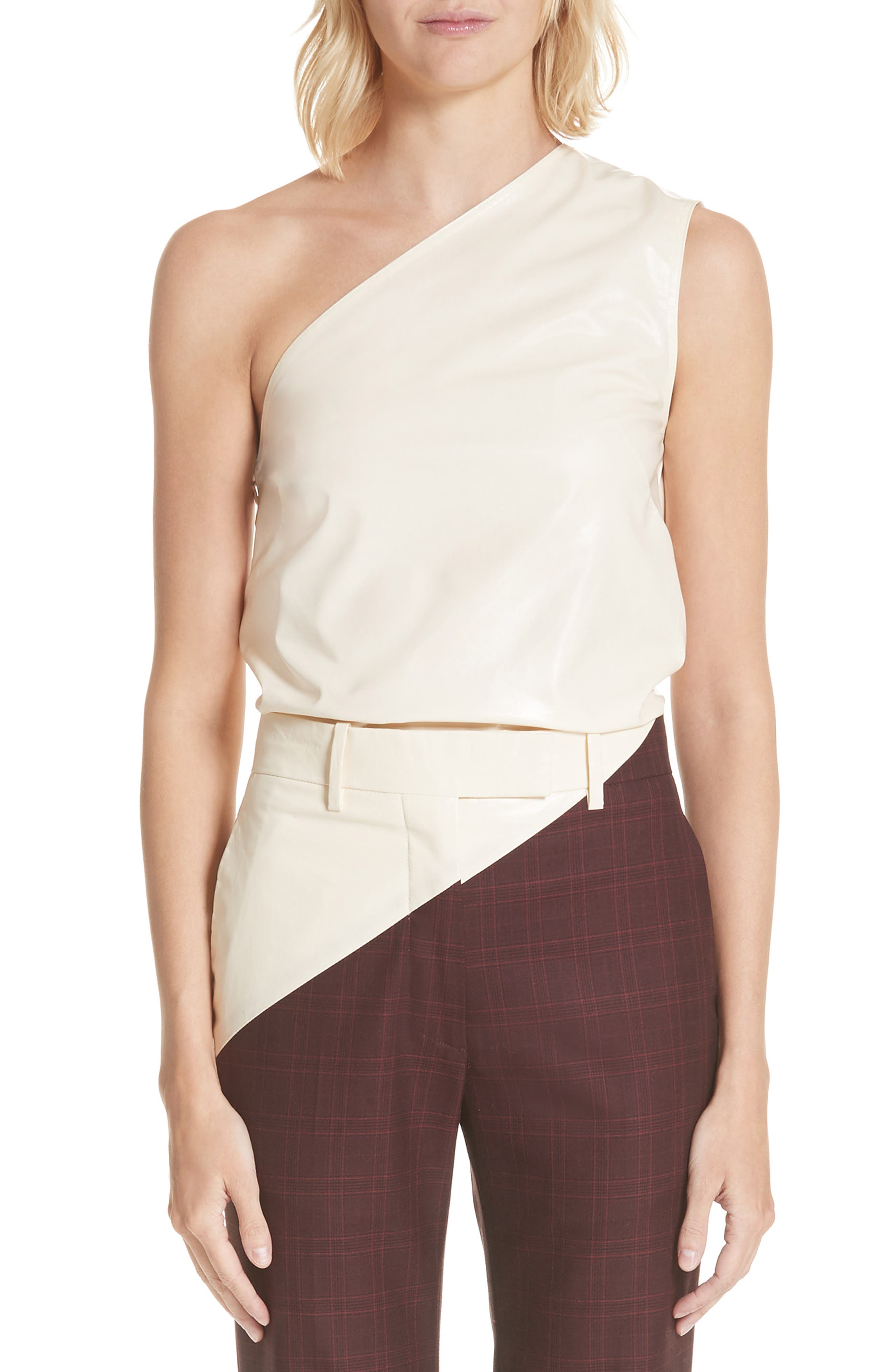 Coated Cotton Asymmetrical Top,                             Main thumbnail 1, color,                             CREME