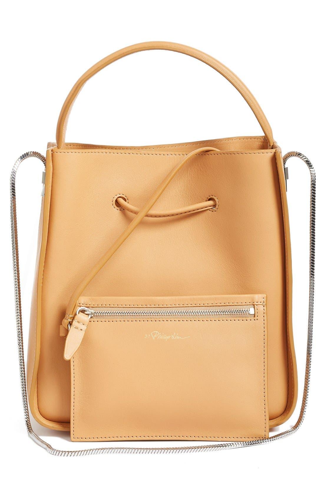 Mini Soleil Leather Bucket Bag,                             Alternate thumbnail 4, color,                             249