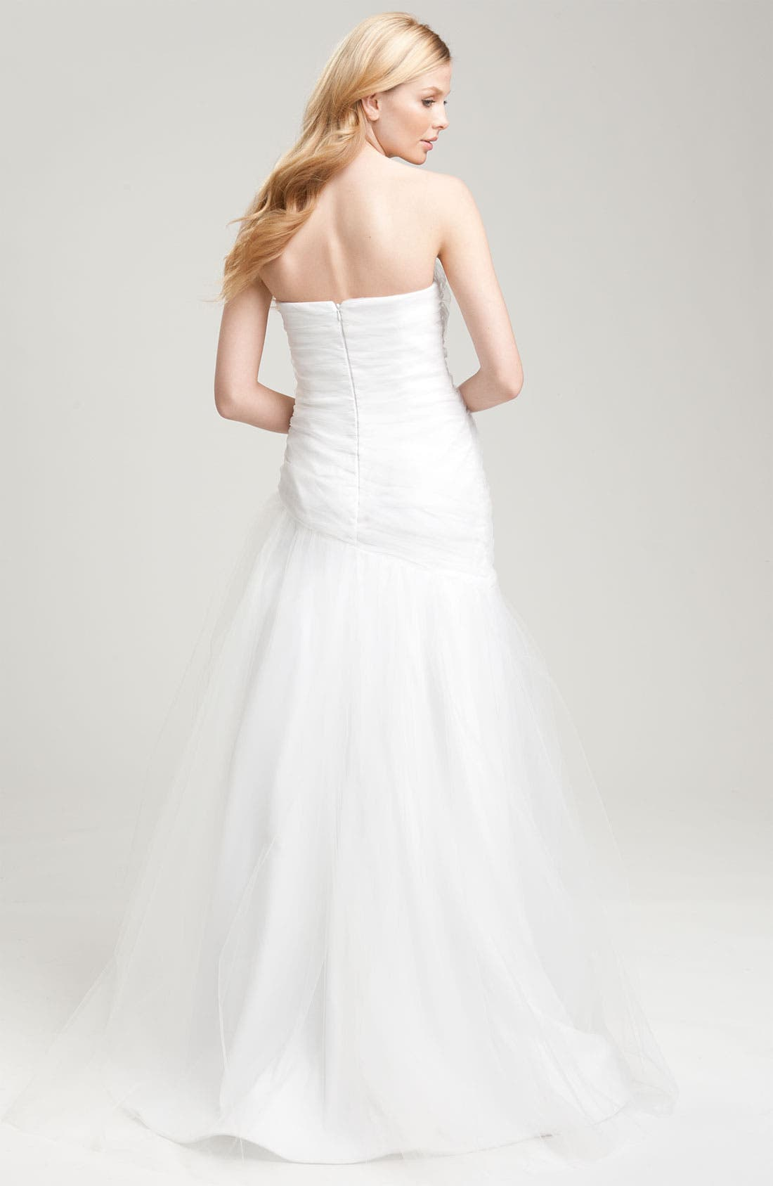 Draped Tulle Gown,                             Alternate thumbnail 4, color,                             100