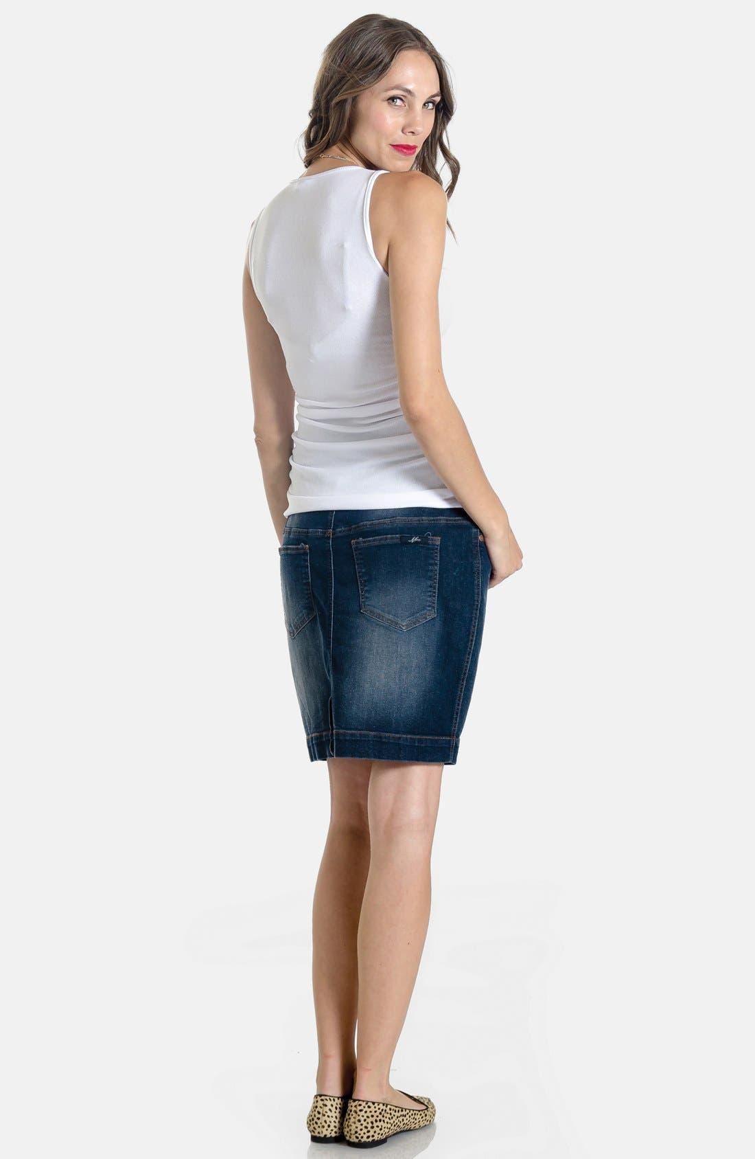 Denim Maternity Skirt,                             Alternate thumbnail 4, color,                             400