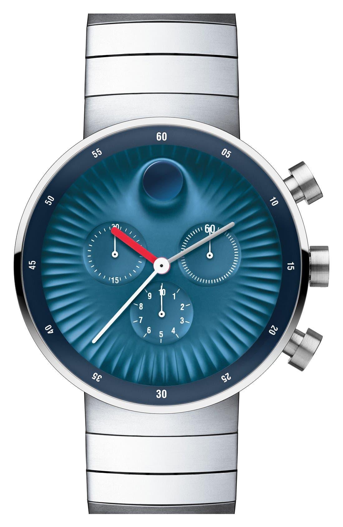'Edge' Bracelet Watch, 42mm,                             Main thumbnail 1, color,                             SILVER/ BLUE