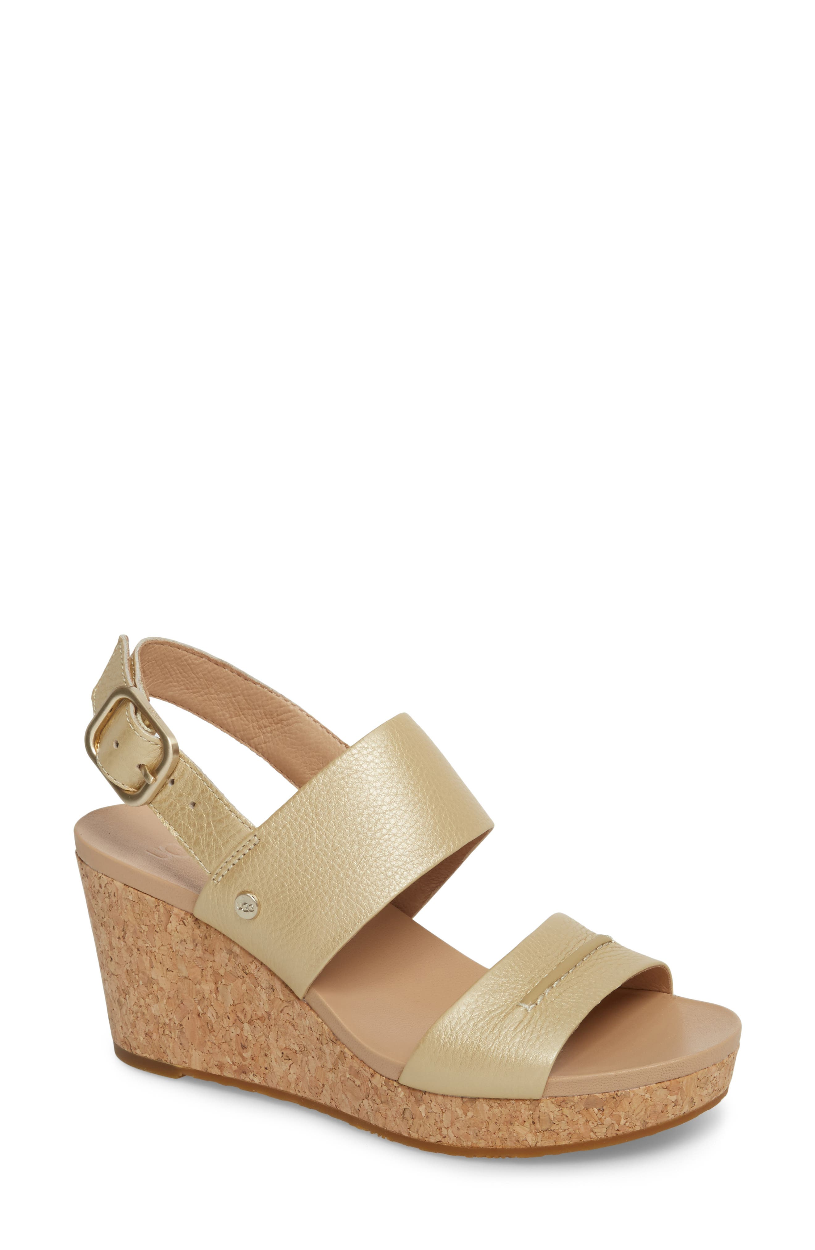 UGG<SUP>®</SUP>,                             Elena II Metallic Platform Wedge Sandal,                             Main thumbnail 1, color,                             710