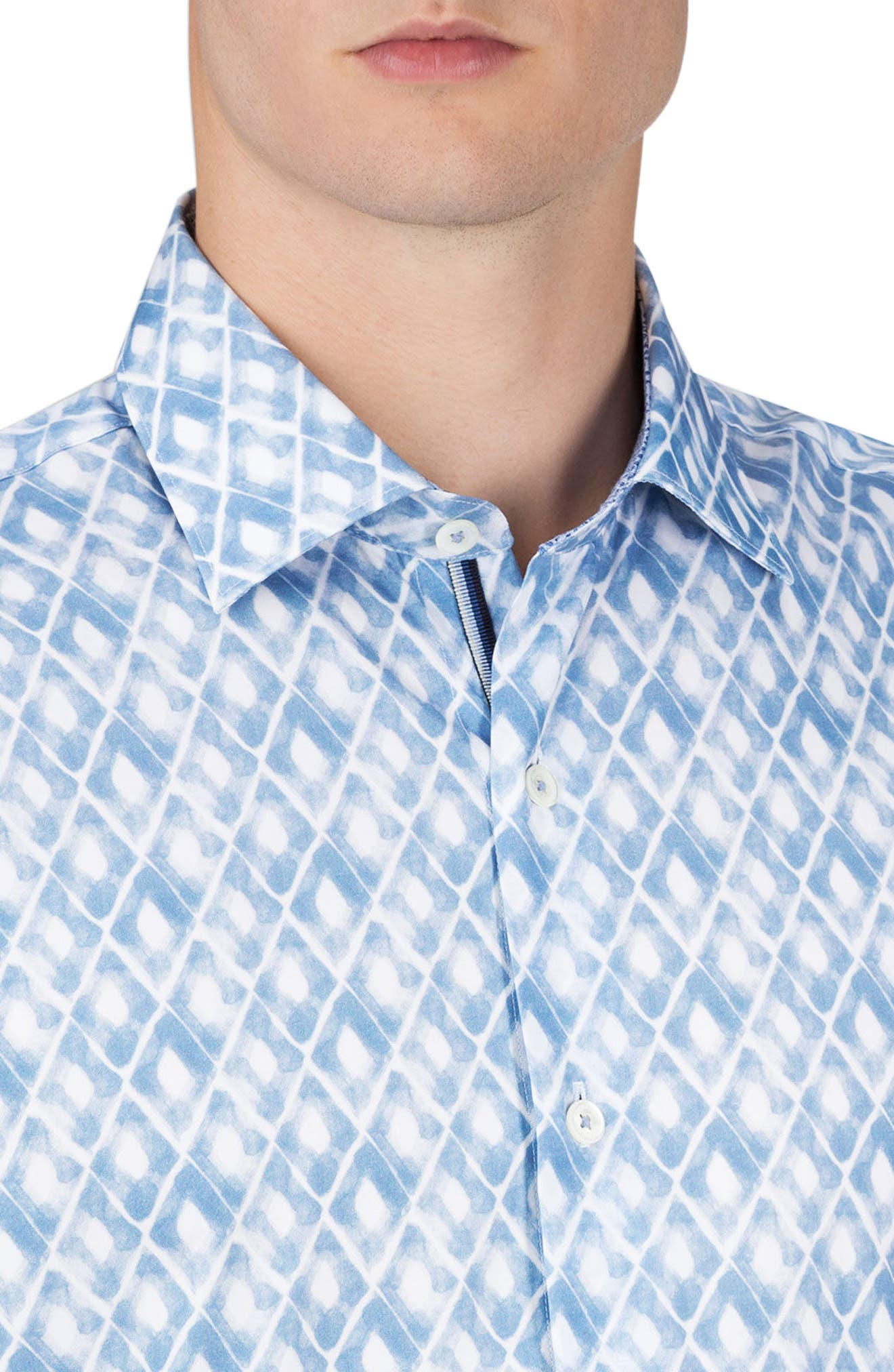 Classic Fit Abstract Print Sport Shirt,                             Alternate thumbnail 3, color,                             420