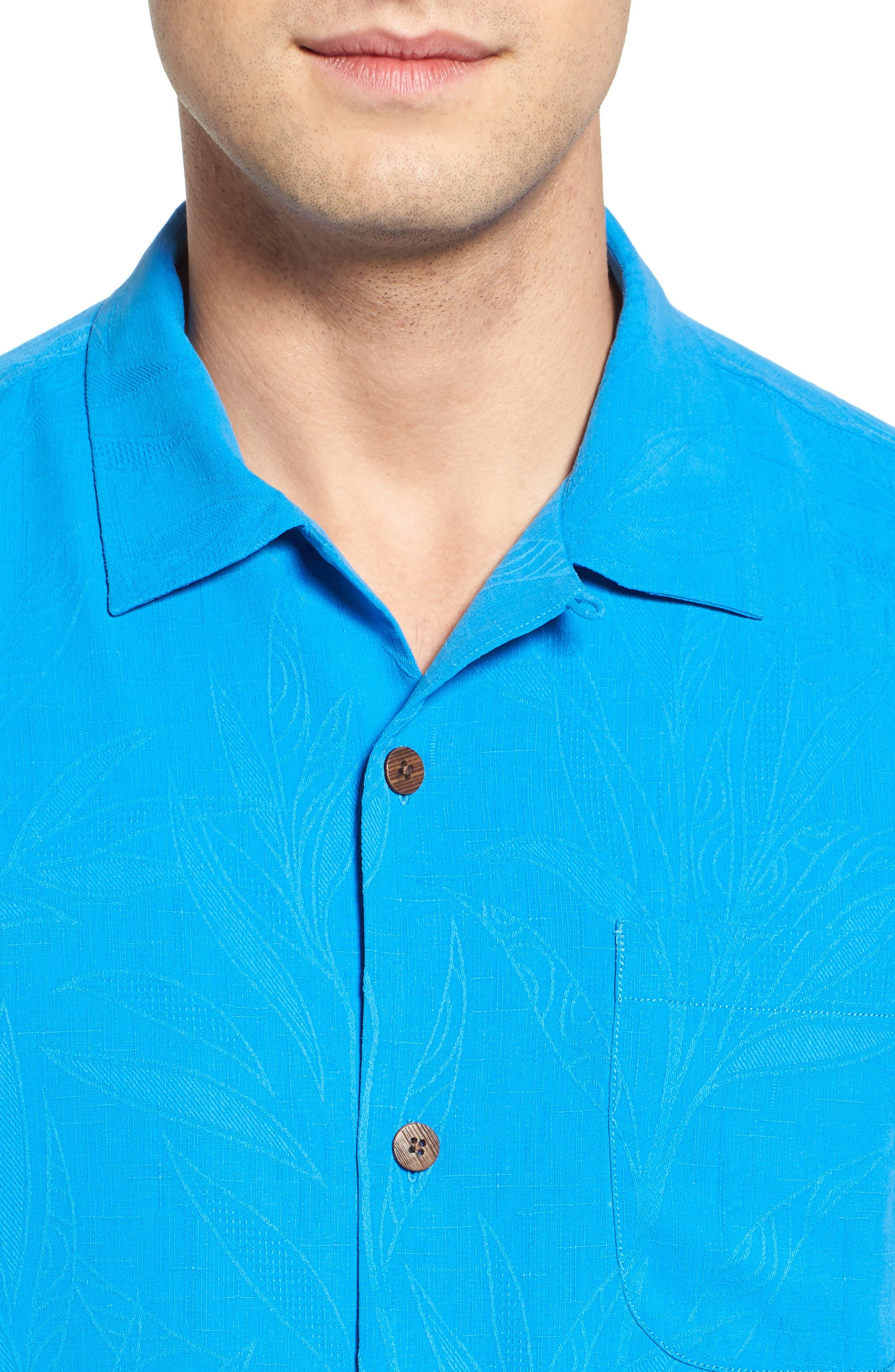 Islander Fronds Silk Camp Shirt,                             Alternate thumbnail 32, color,