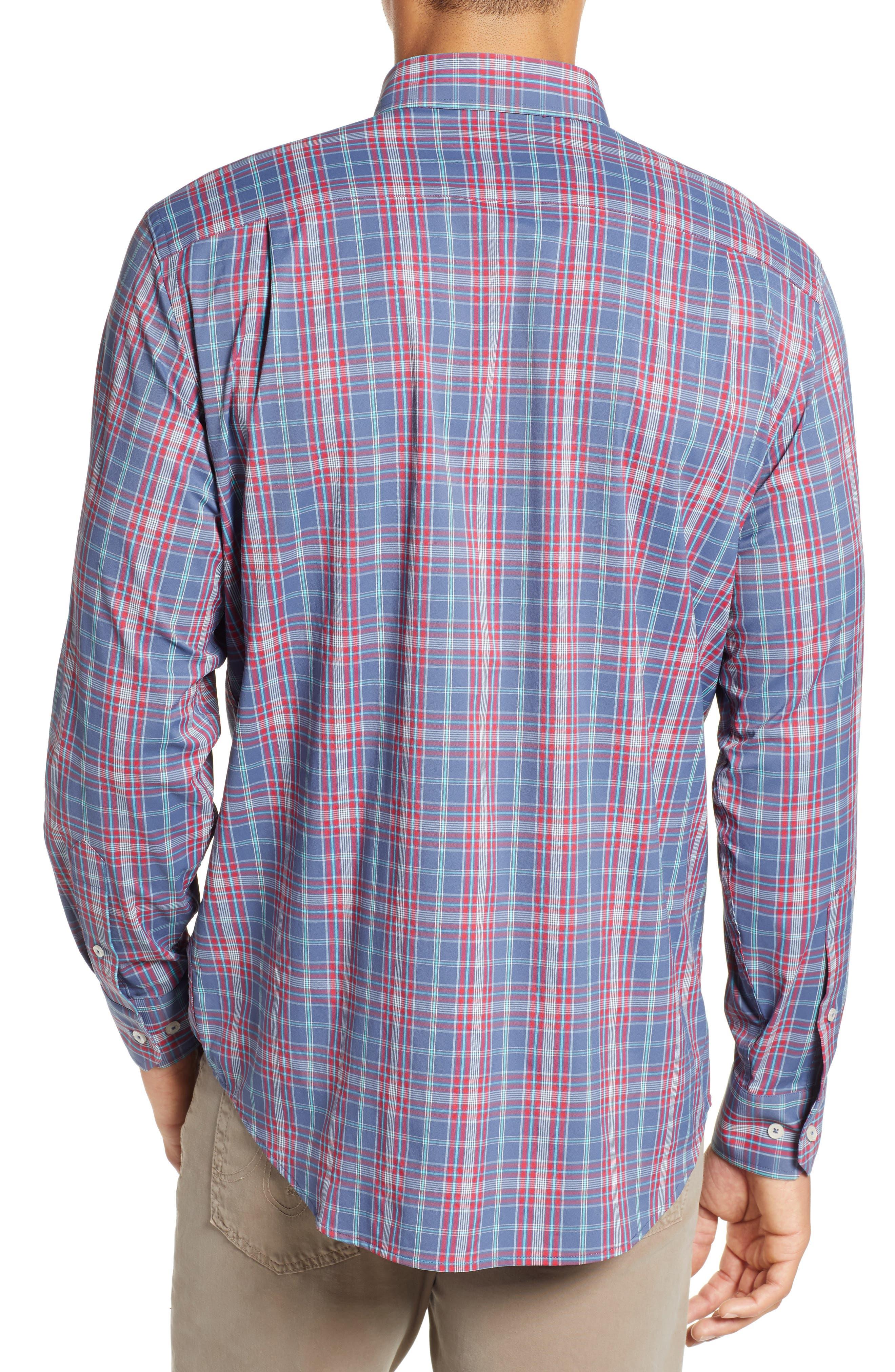 Lodge Intercoastal Regular Fit Plaid Performance Sport Shirt,                             Alternate thumbnail 3, color,                             LIGHT INDIGO