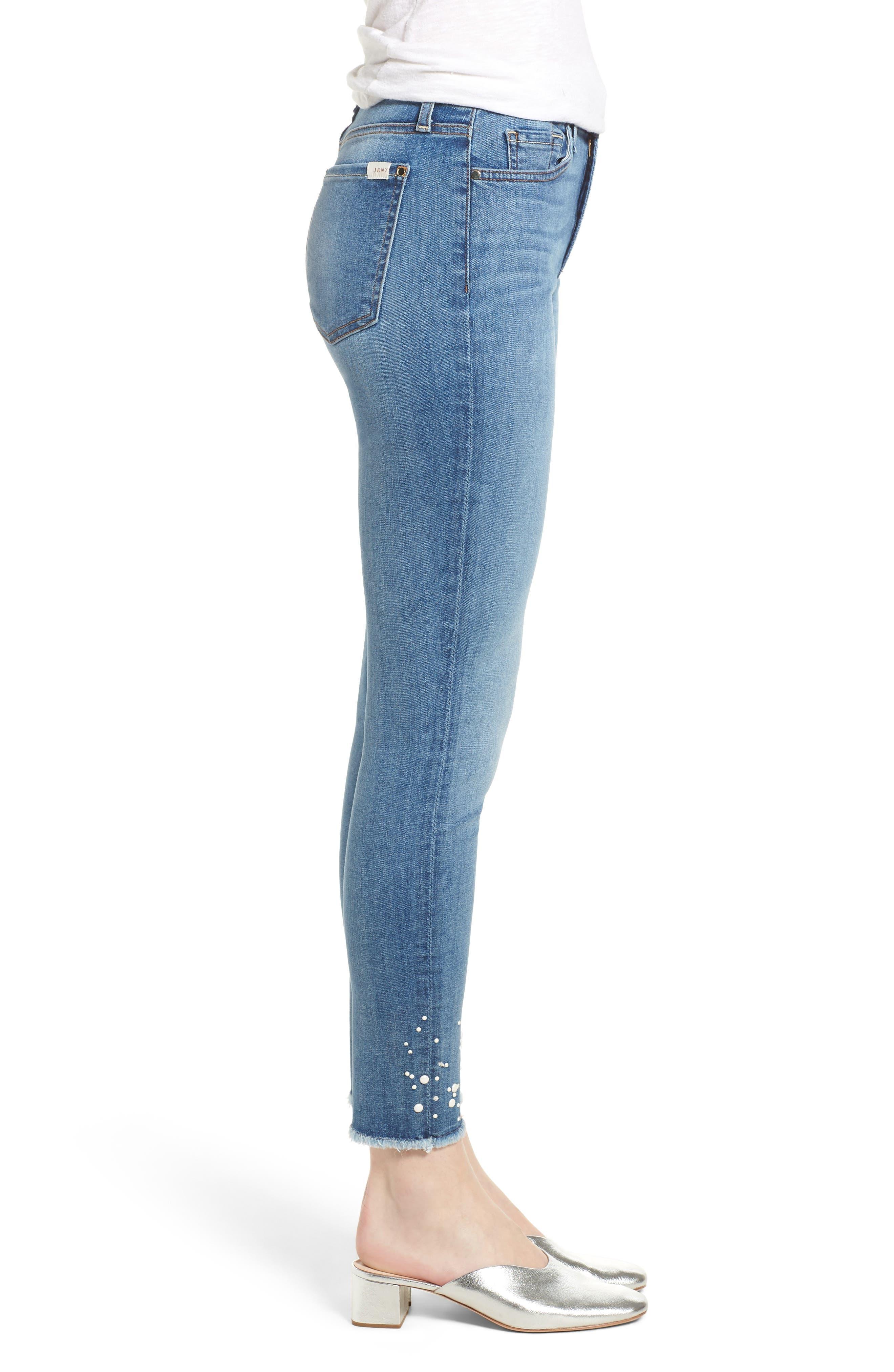 Embellished Hem Ankle Skinny Jeans,                             Alternate thumbnail 3, color,                             SUNLIGHT