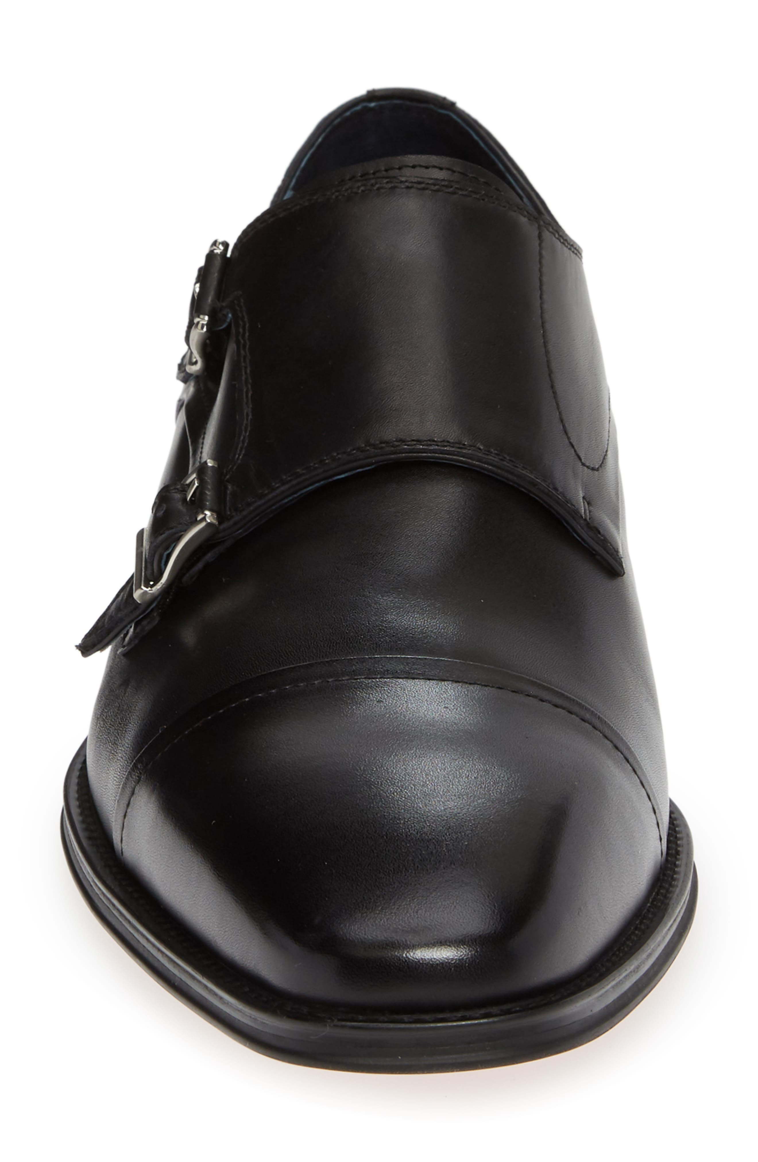 Mario Double Monk Strap Shoe,                             Alternate thumbnail 4, color,                             BLACK LEATHER