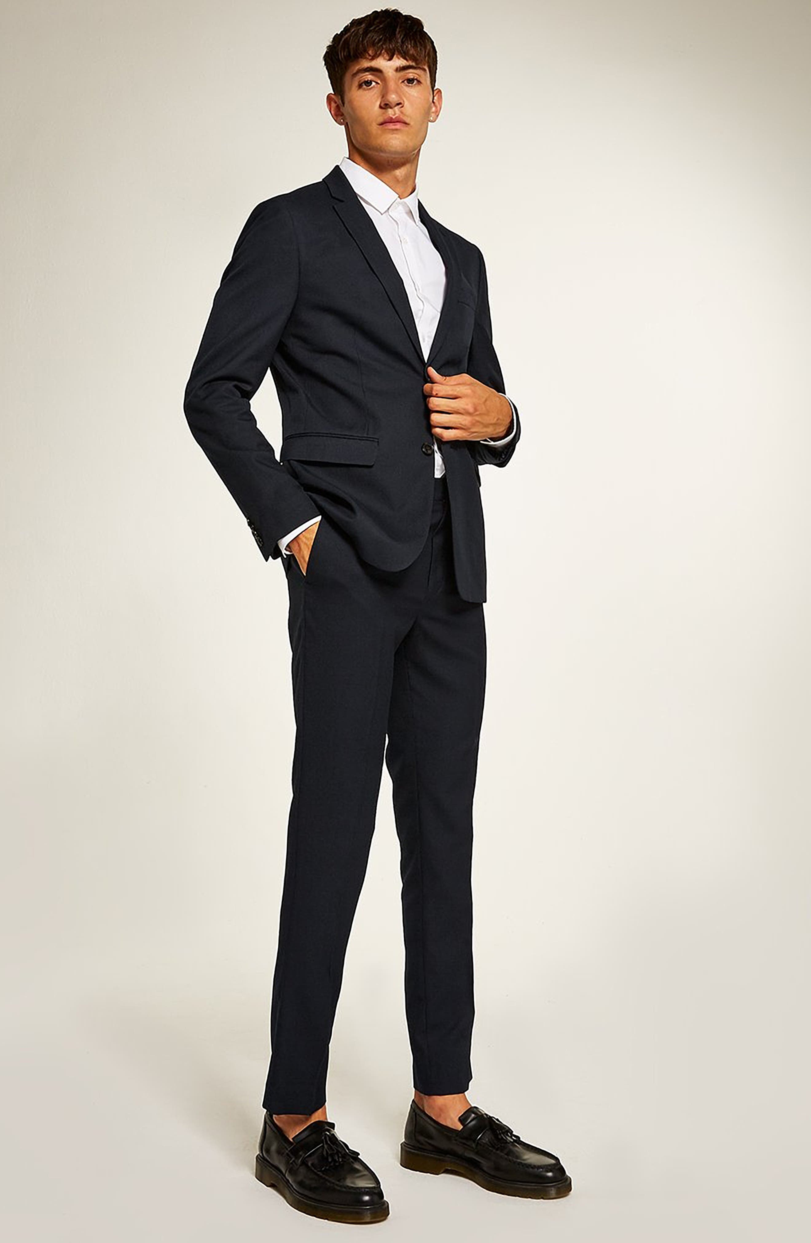 Skinny Fit Textured Suit Jacket,                             Alternate thumbnail 5, color,                             DARK BLUE