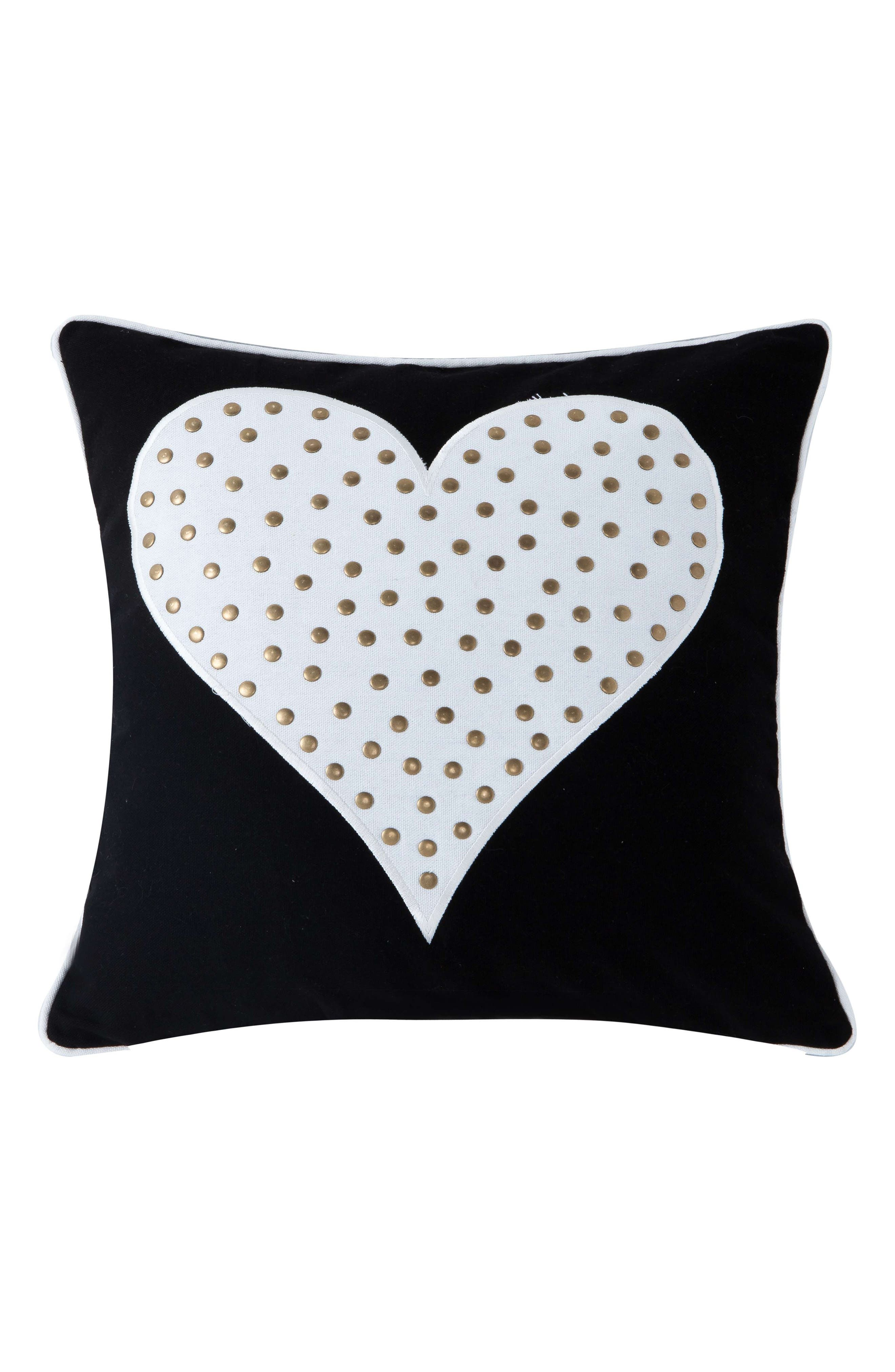 Stellah Studded Heart Accent Pillow,                         Main,                         color, 001