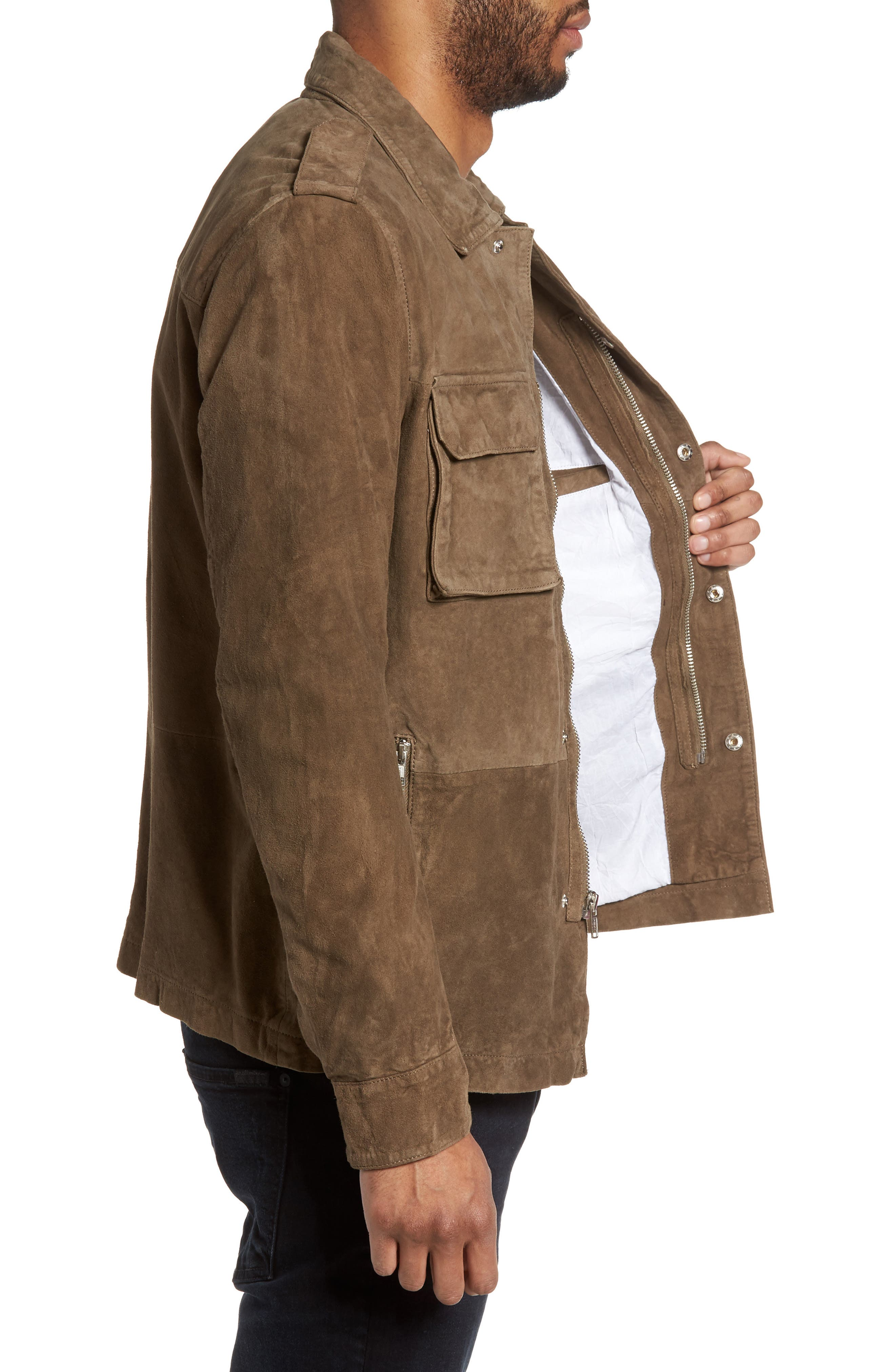 Washed Suede Military Shirt Jacket,                             Alternate thumbnail 5, color,