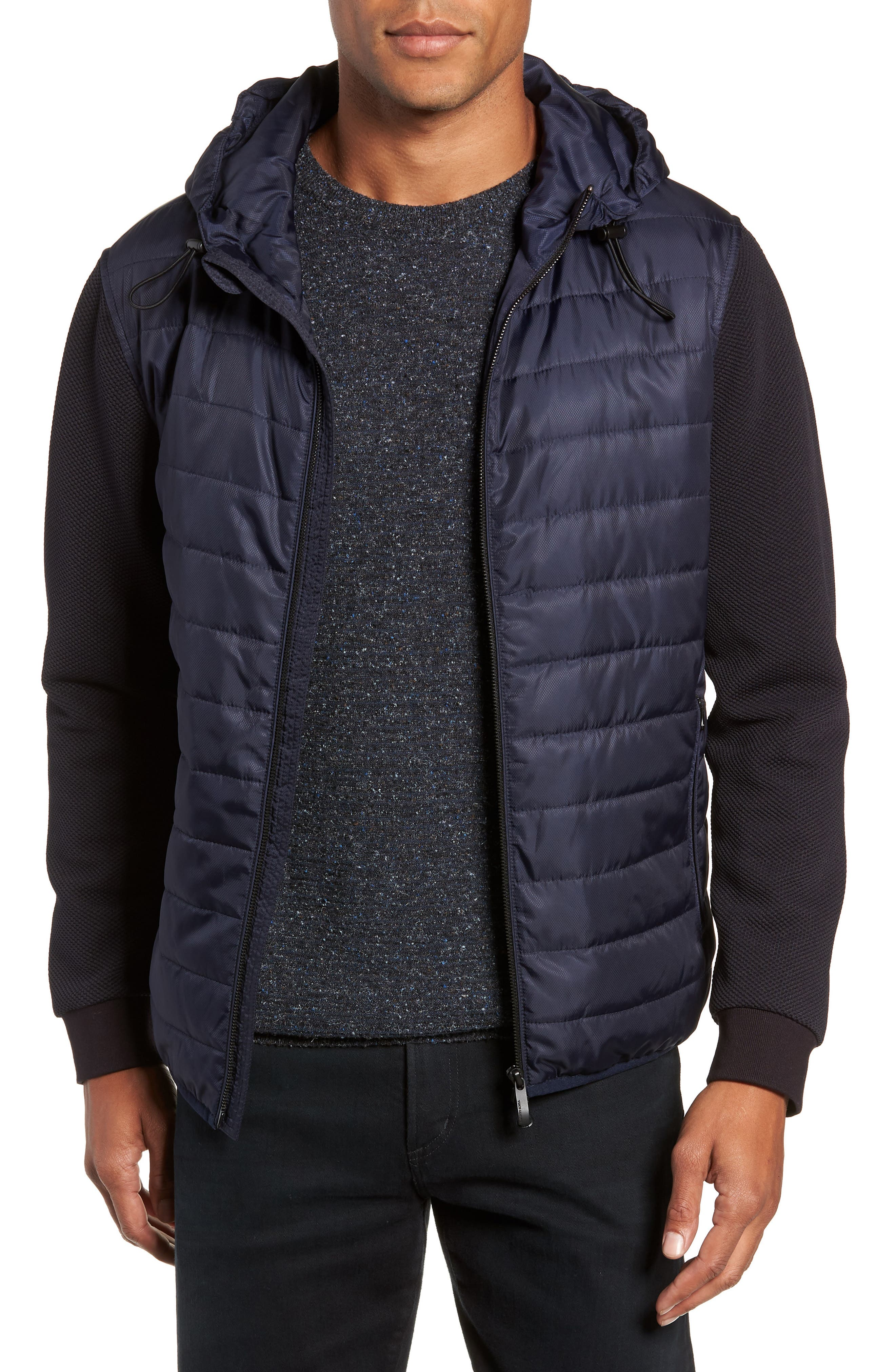 Slim Fit Quilted Performance Jacket,                             Main thumbnail 1, color,                             NAVY