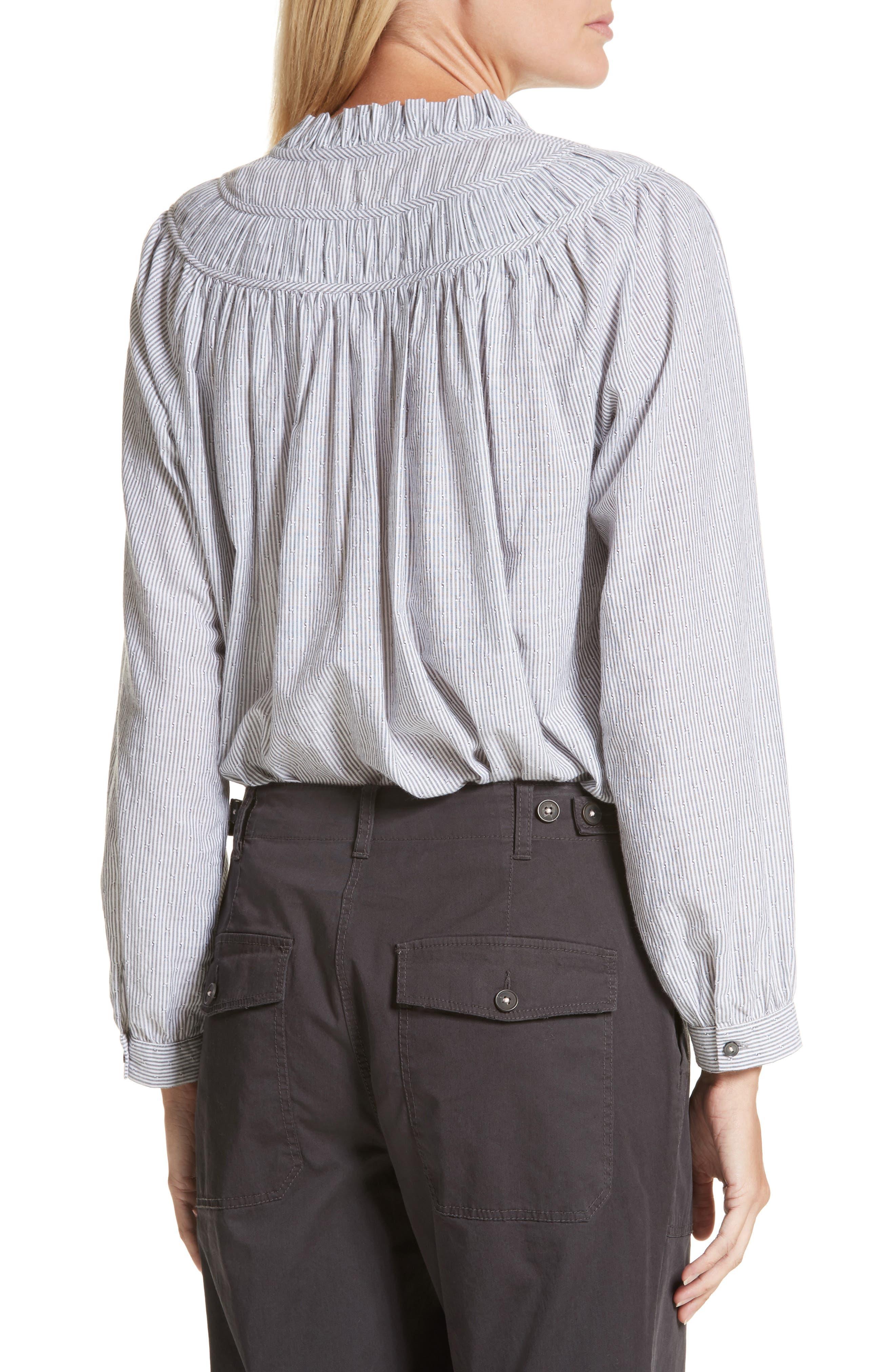 Stripe Long Sleeve Ruffle Shirt,                             Alternate thumbnail 2, color,                             057