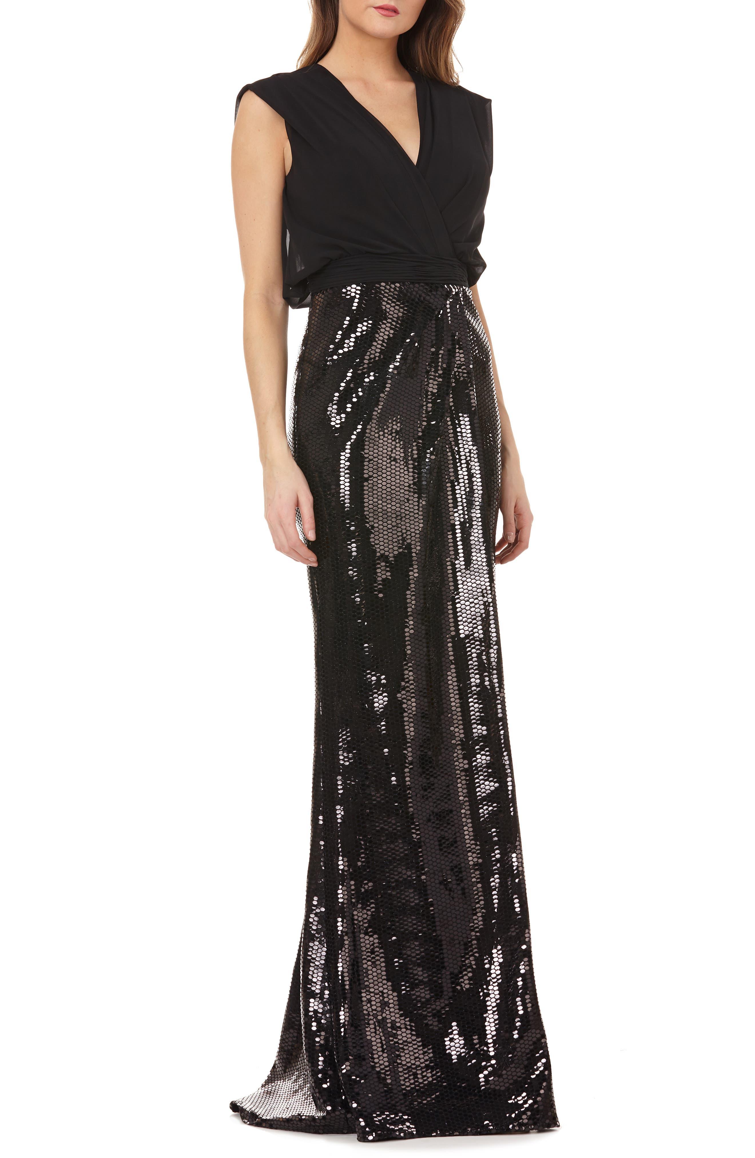 KAY UNGER Sleeveless Column Gown W/ Sequin Skirt in Black