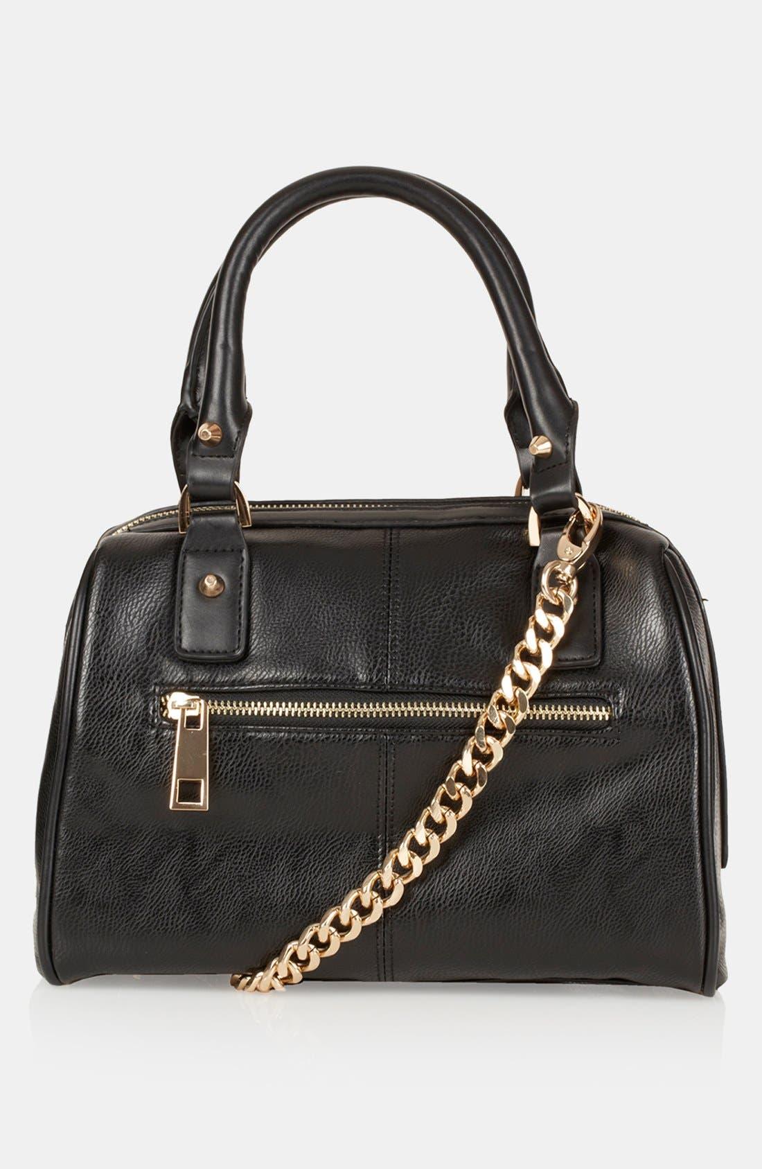 'Medium' Faux Leather Bowling Bag, Main, color, 001