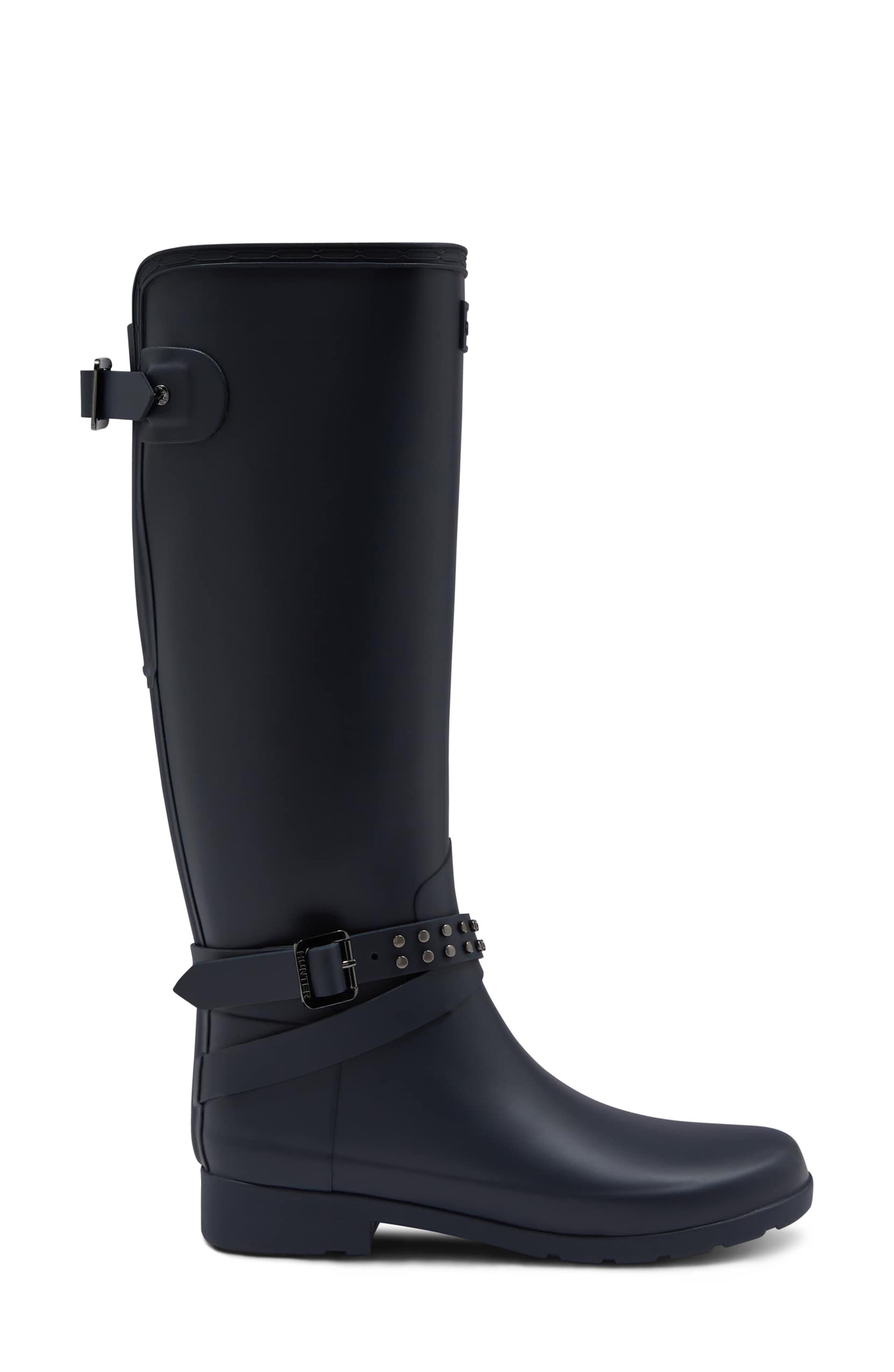 Refined Adjustable Back Knee High Waterproof Rain Boot,                             Alternate thumbnail 3, color,                             NAVY