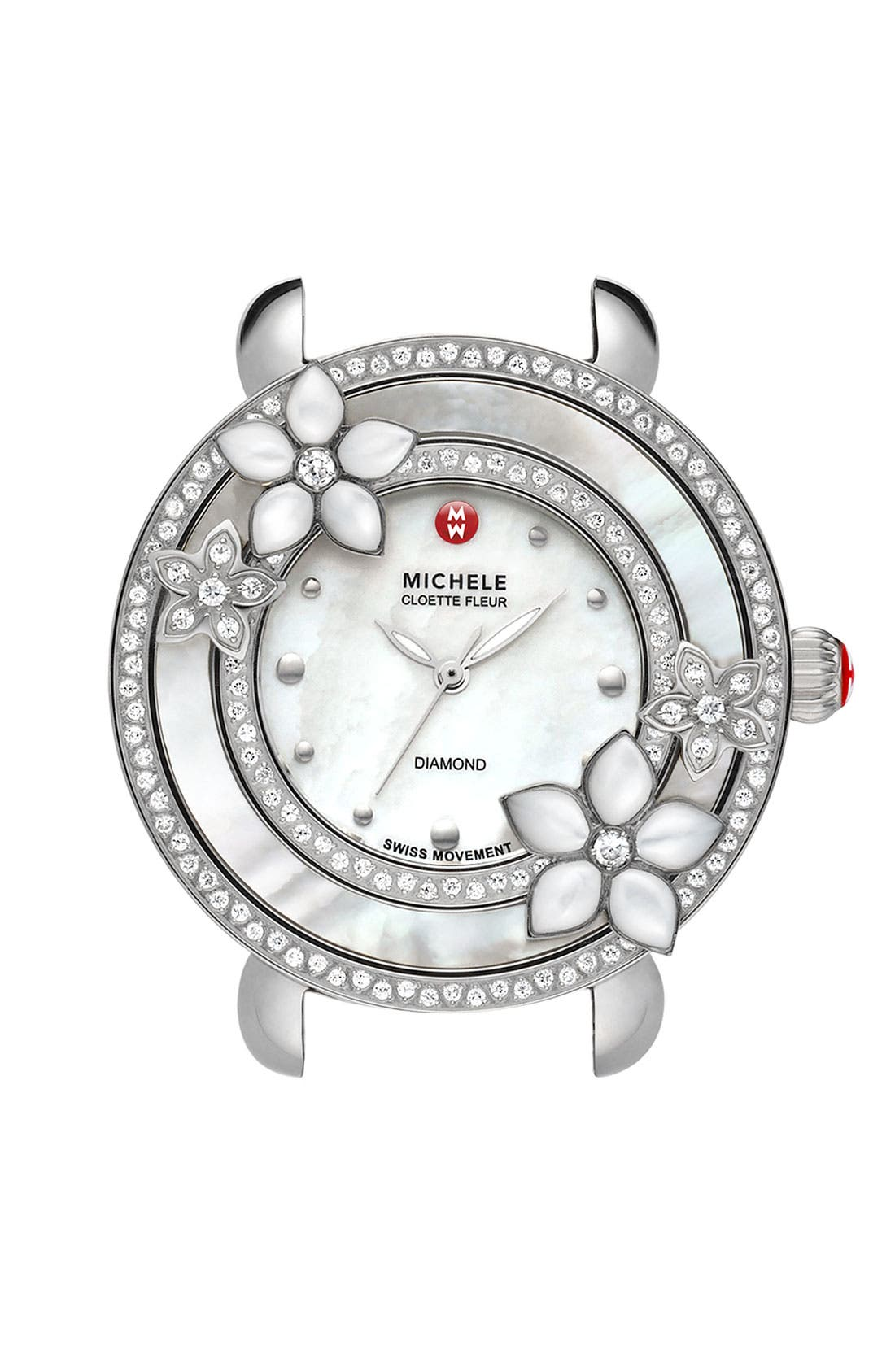 'Cloette Fleur' Diamond & Mother-of-Pearl Watch Case, 38mm, Main, color, 040