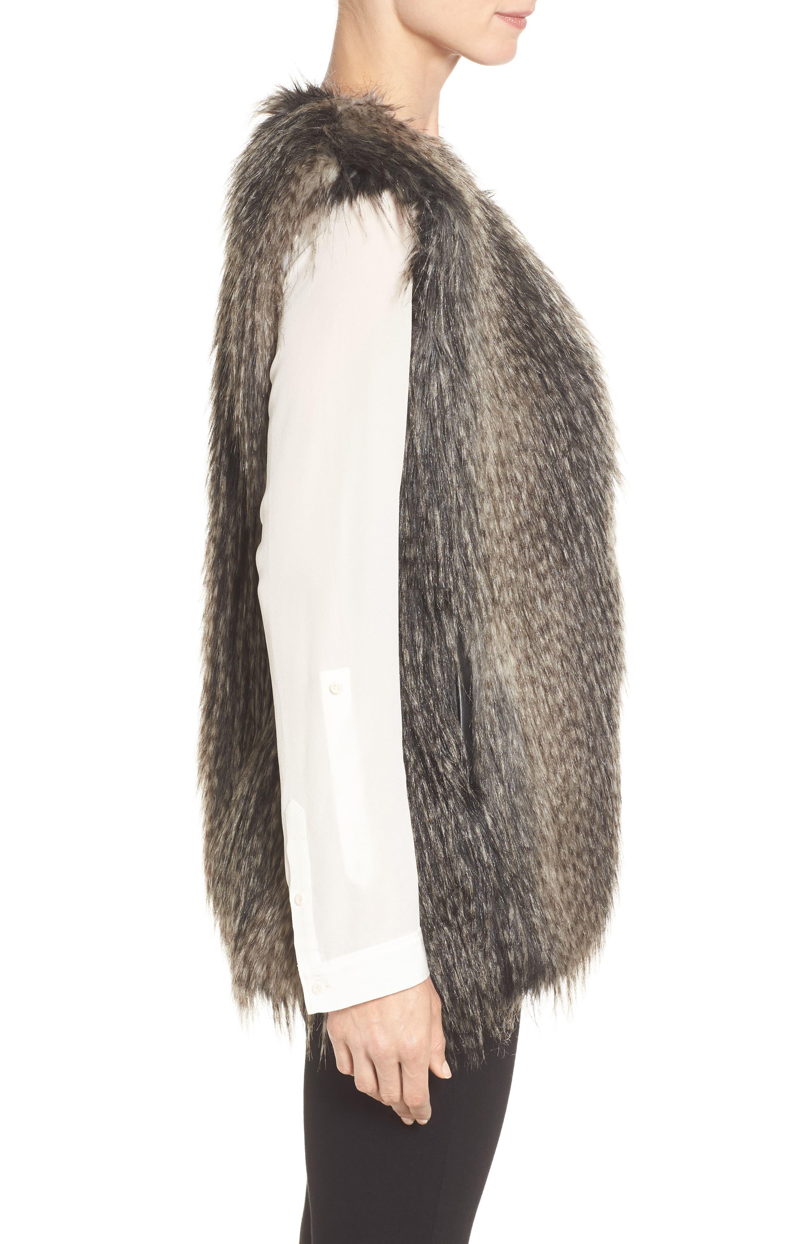 Collarless Faux Fur Vest,                             Alternate thumbnail 3, color,                             001