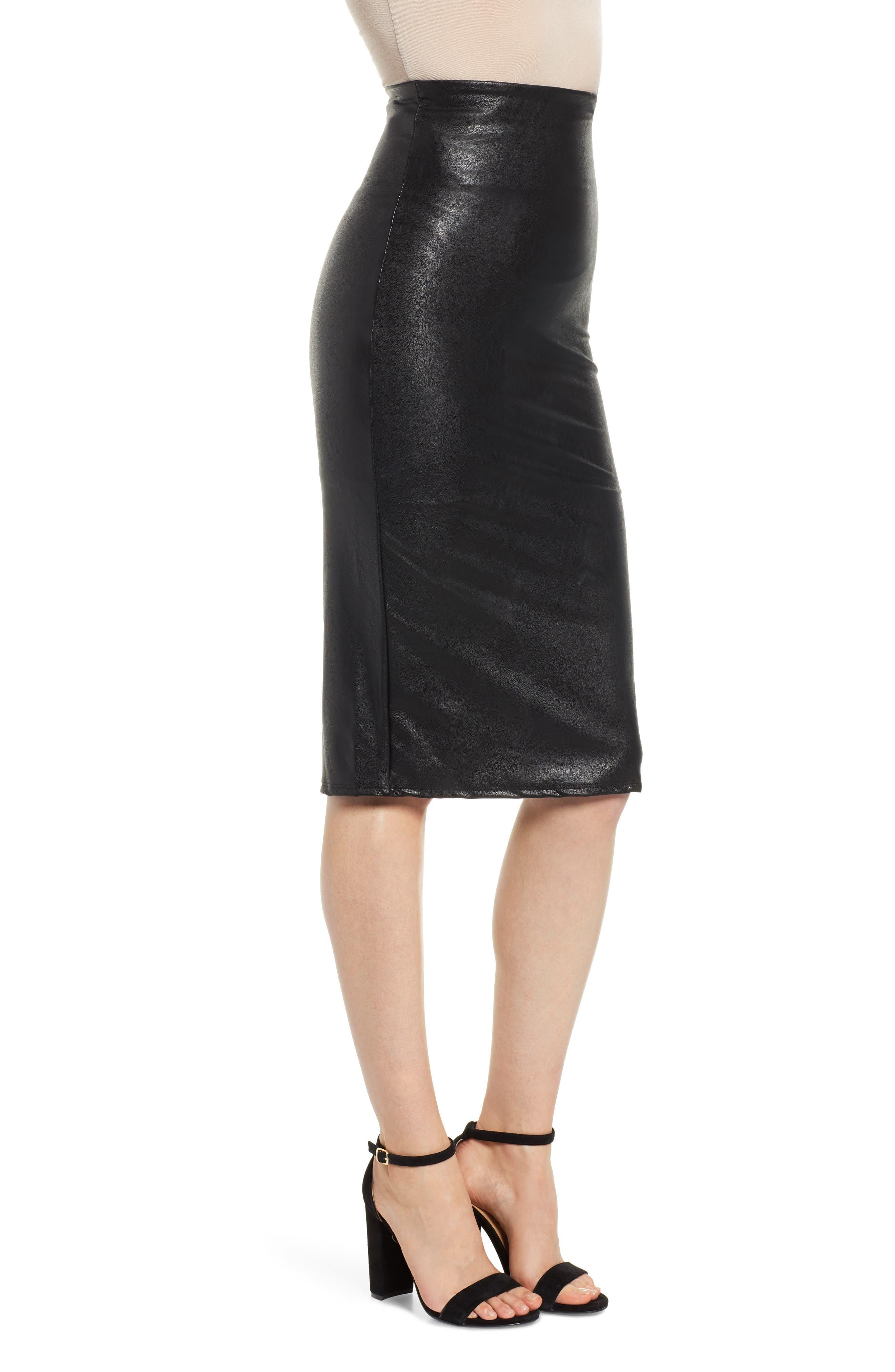 Faux Leather Midi Skirt,                             Alternate thumbnail 3, color,                             BLACK