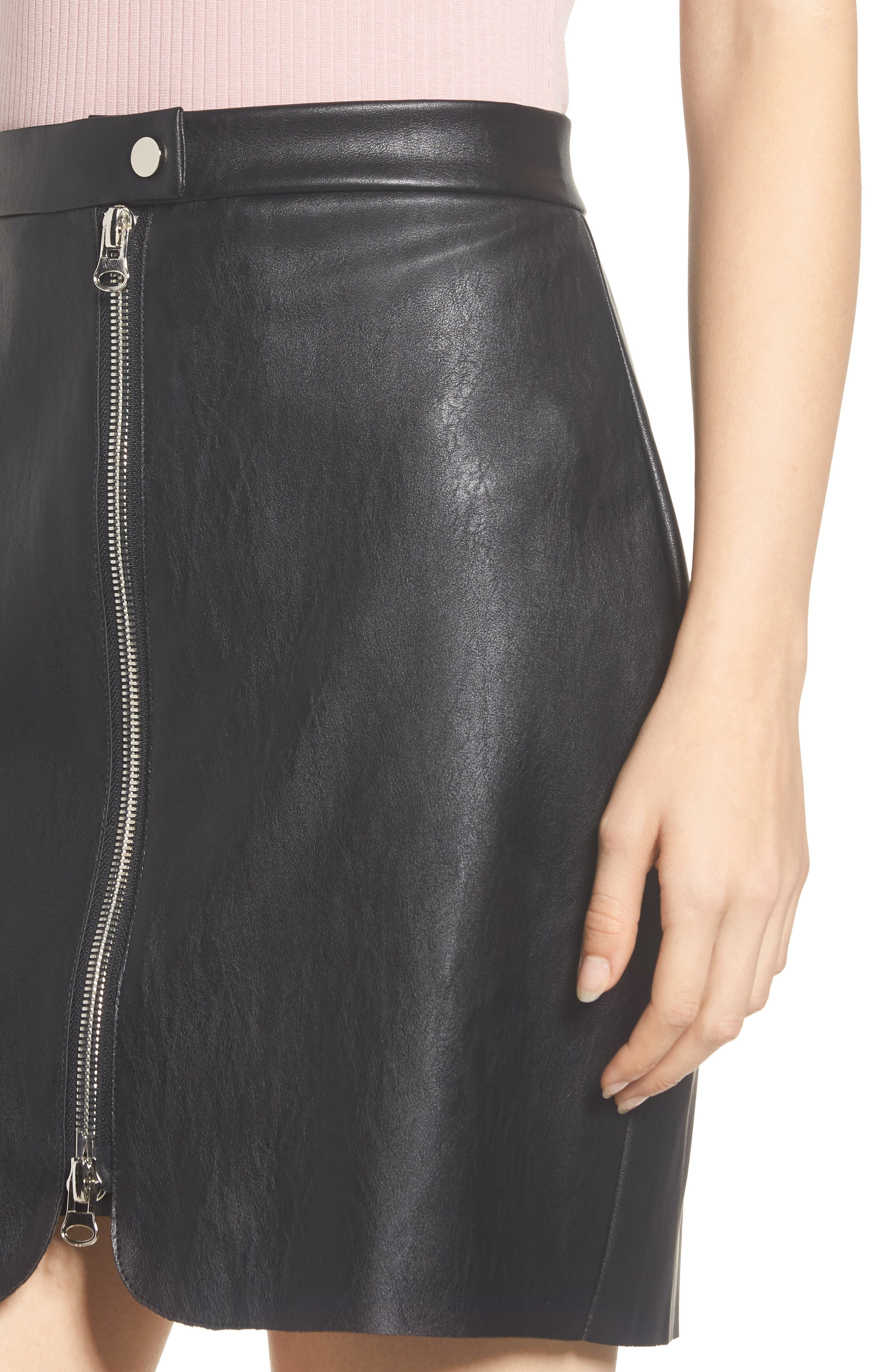 Exposed Zip Miniskirt,                             Alternate thumbnail 4, color,                             001