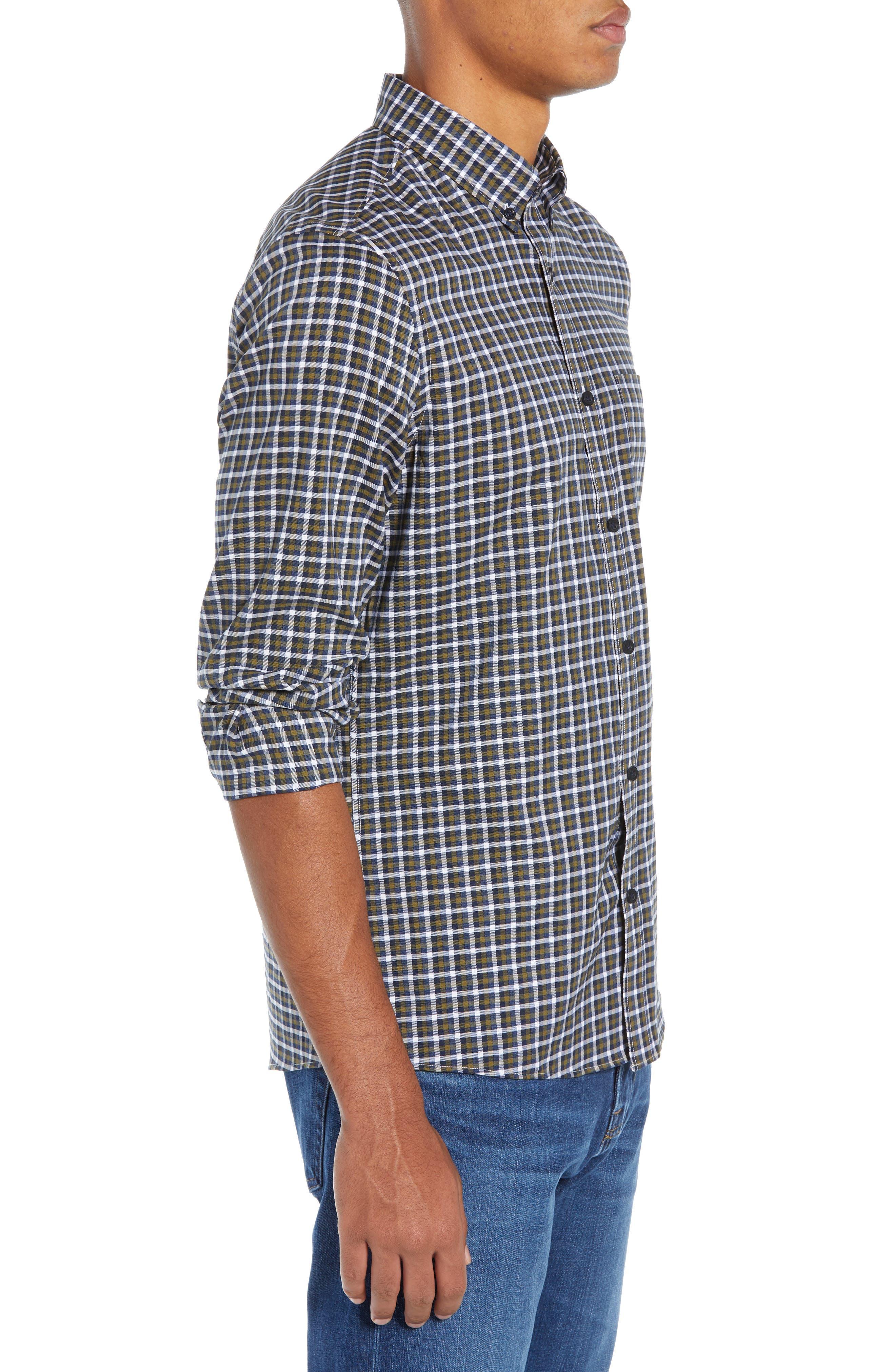 Tech-Smart Slim Fit Check Sport Shirt,                             Alternate thumbnail 4, color,                             NAVY NIGHT OLIVE CHECK