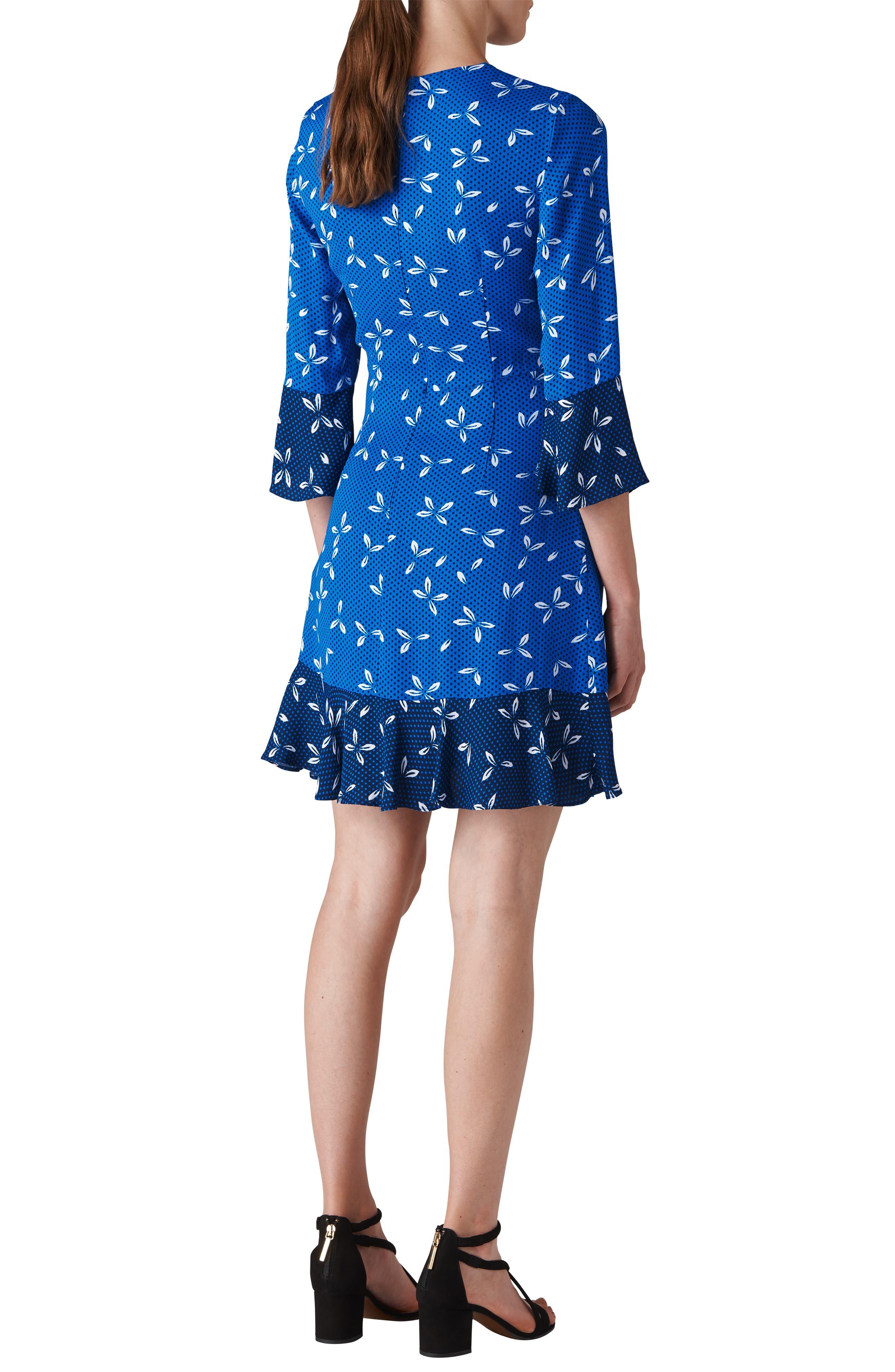 Polly Spot Print Dress,                             Alternate thumbnail 2, color,                             BLUE/ MULTI