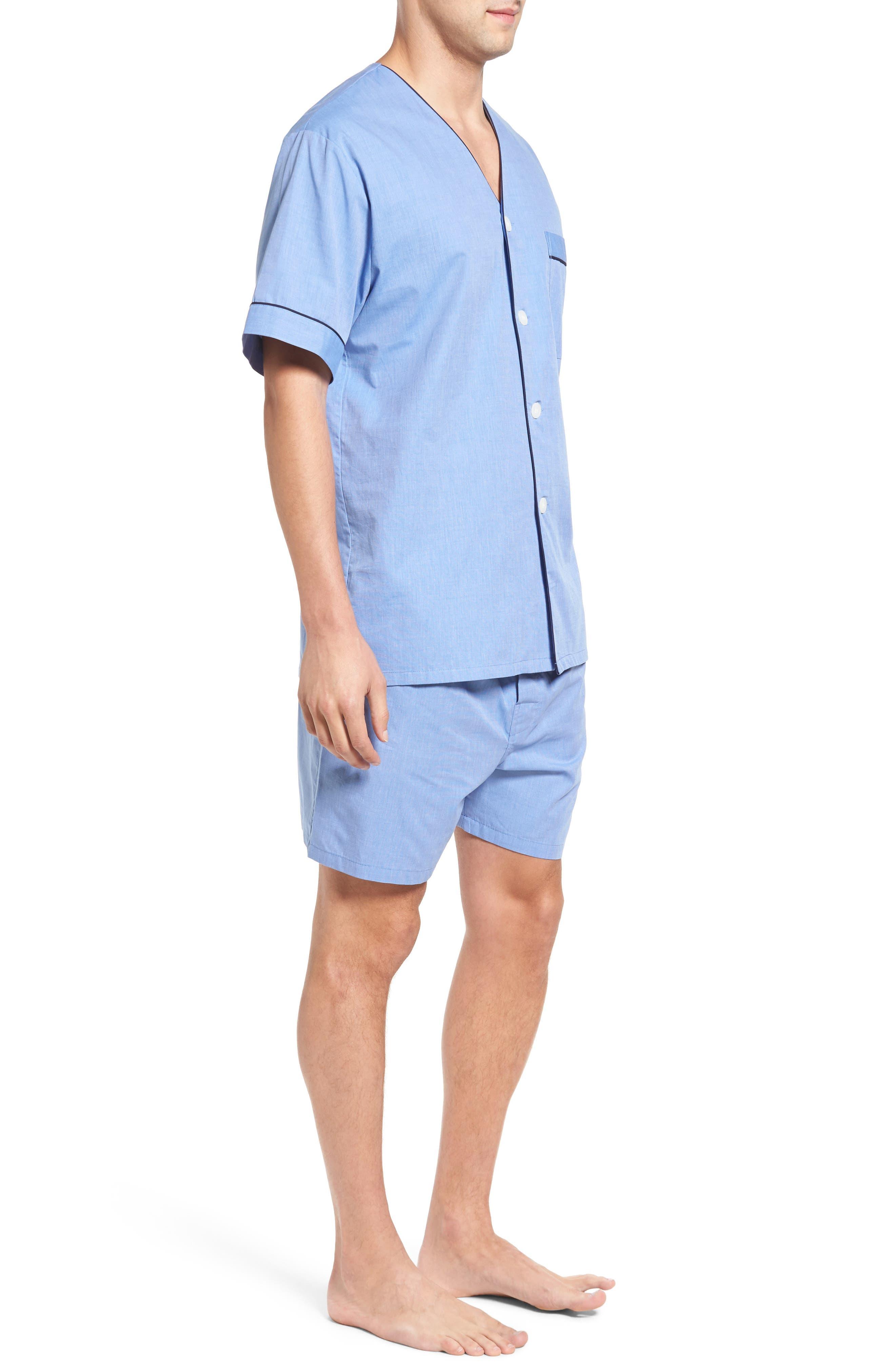 Cotton Short Pajamas,                             Alternate thumbnail 3, color,                             BLUE