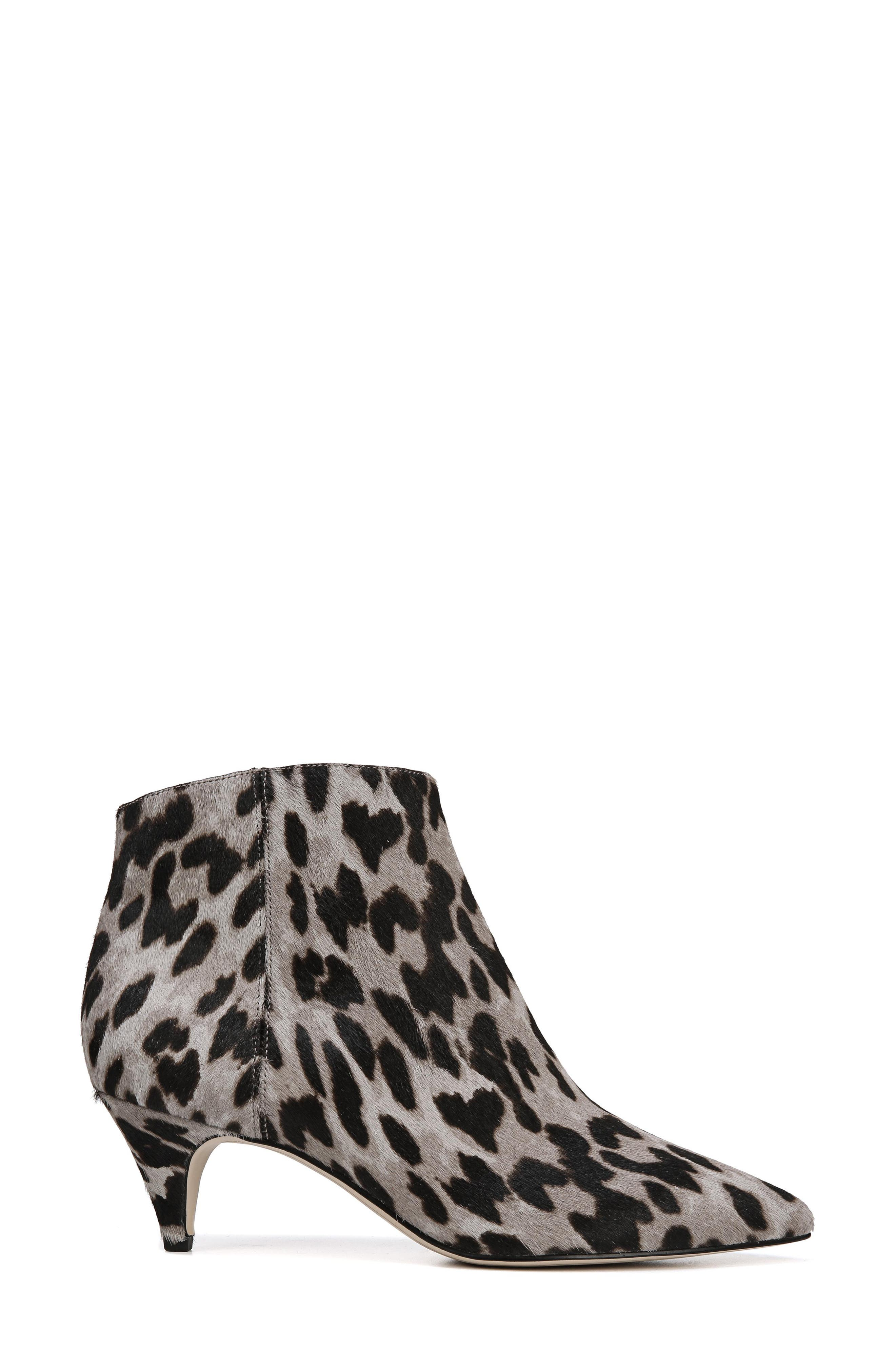 Kinzey Genuine Calf Hair Pointy Toe Bootie,                             Alternate thumbnail 3, color,                             GREY LEOPARD BRAHMA HAIR