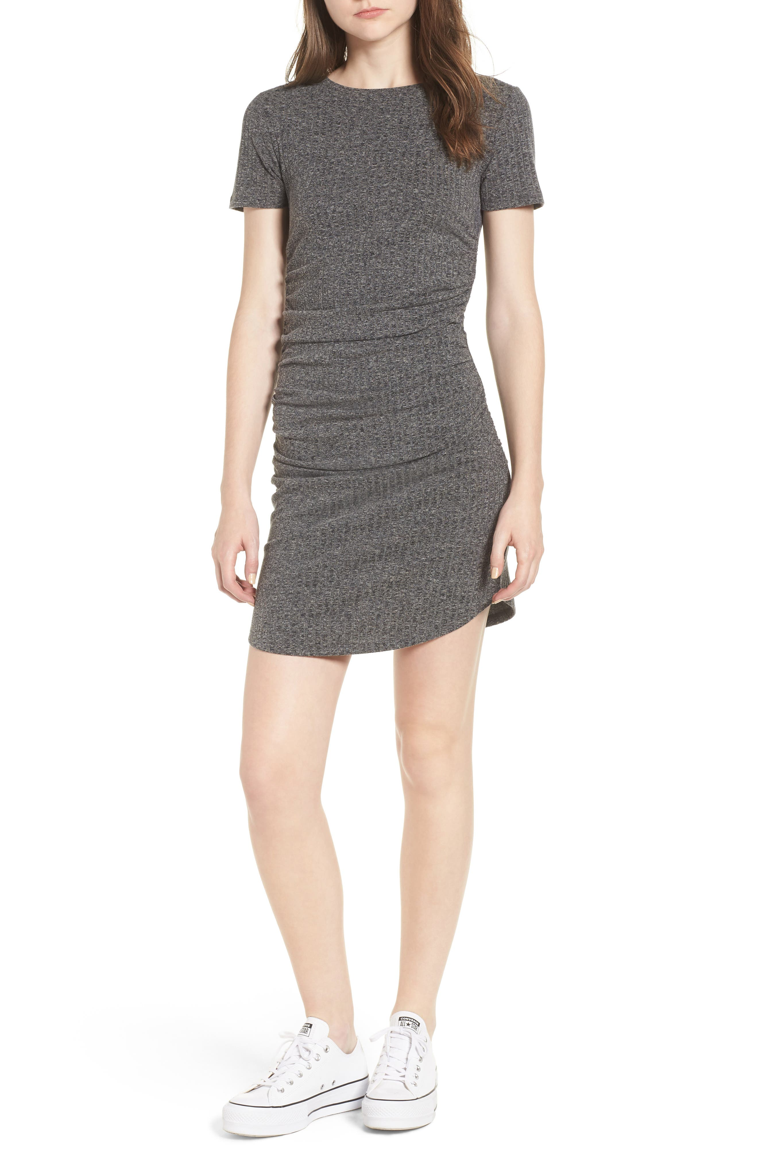 Ruched Ribbed Body-Con Dress,                             Main thumbnail 1, color,                             GREY MEDIUM CHARCOAL HEATHER
