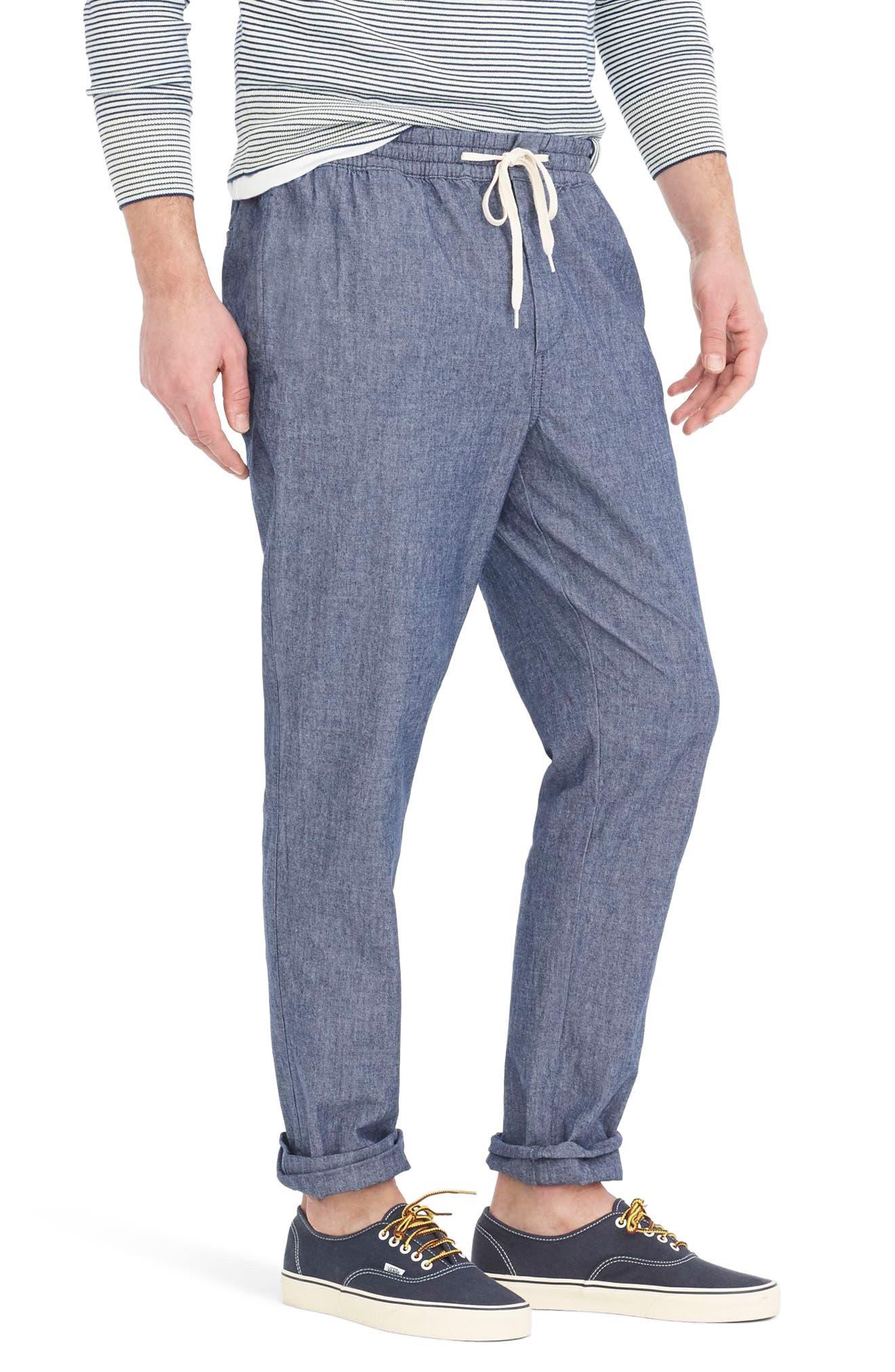 Chambray Drawstring Pants,                             Alternate thumbnail 3, color,                             402
