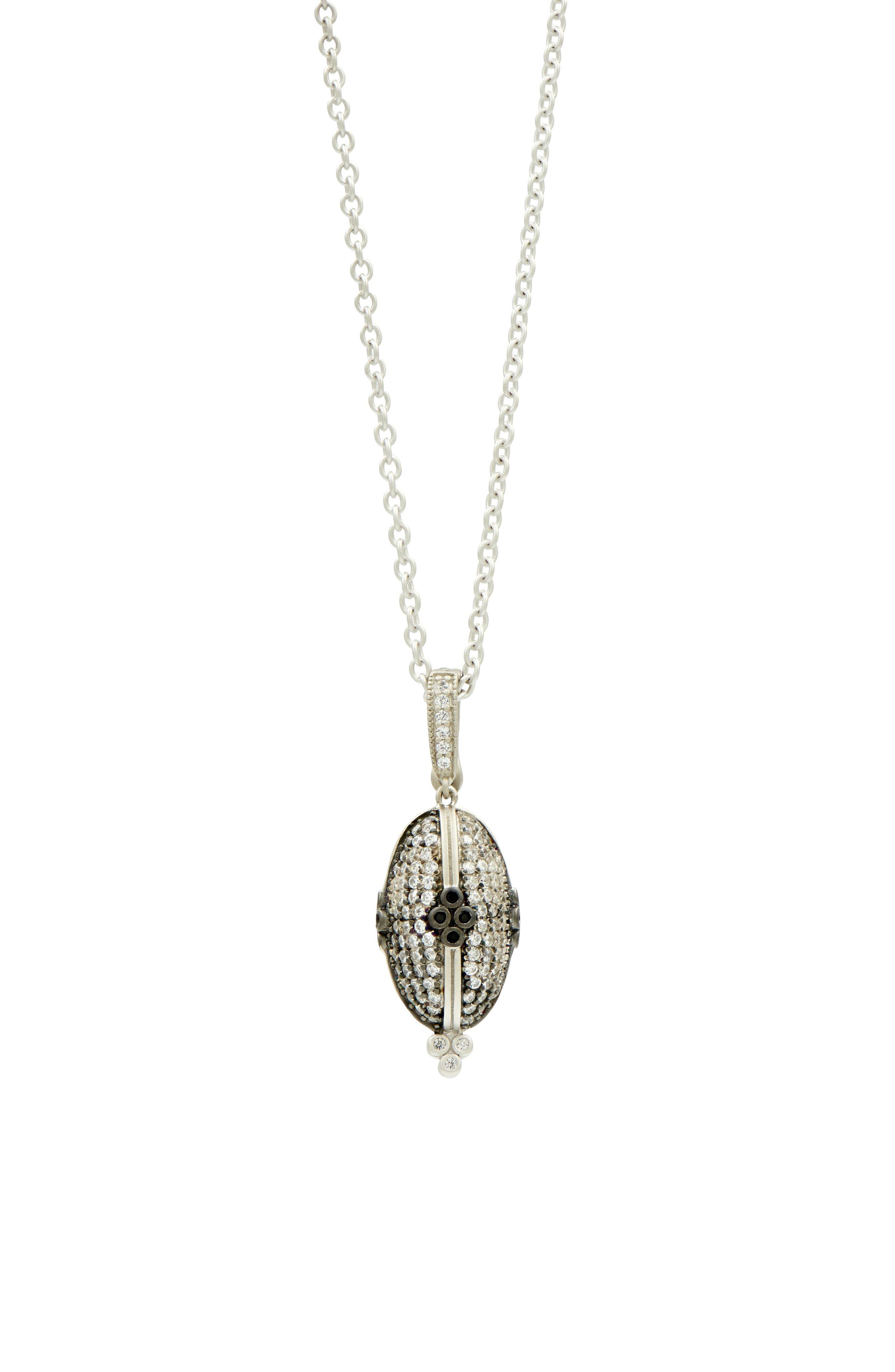 FREIDA ROTHMAN Industrial Finish Pendant Necklace in Black/ Silver