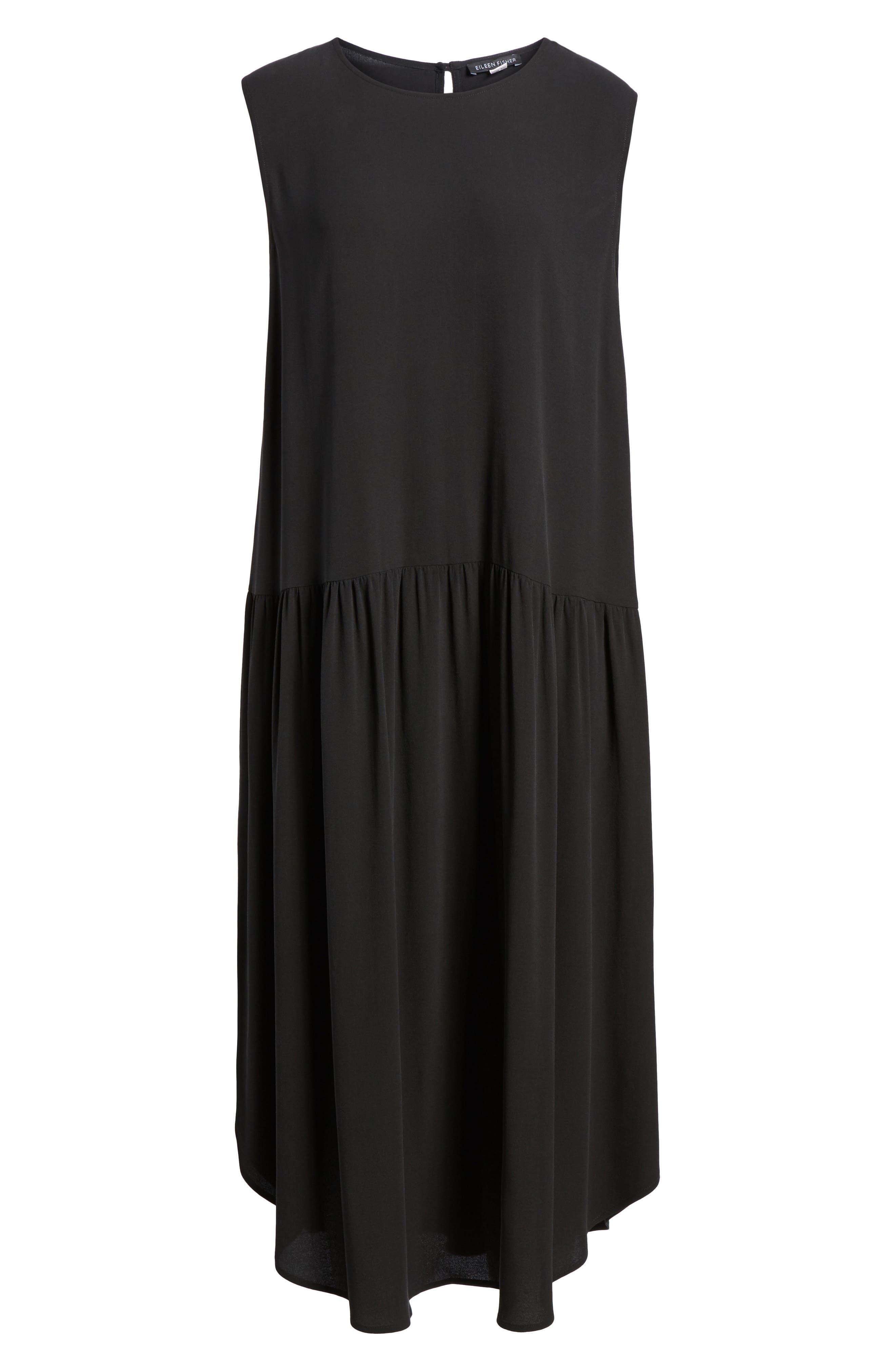 Drop Waist Silk Midi Dress,                             Alternate thumbnail 6, color,                             001