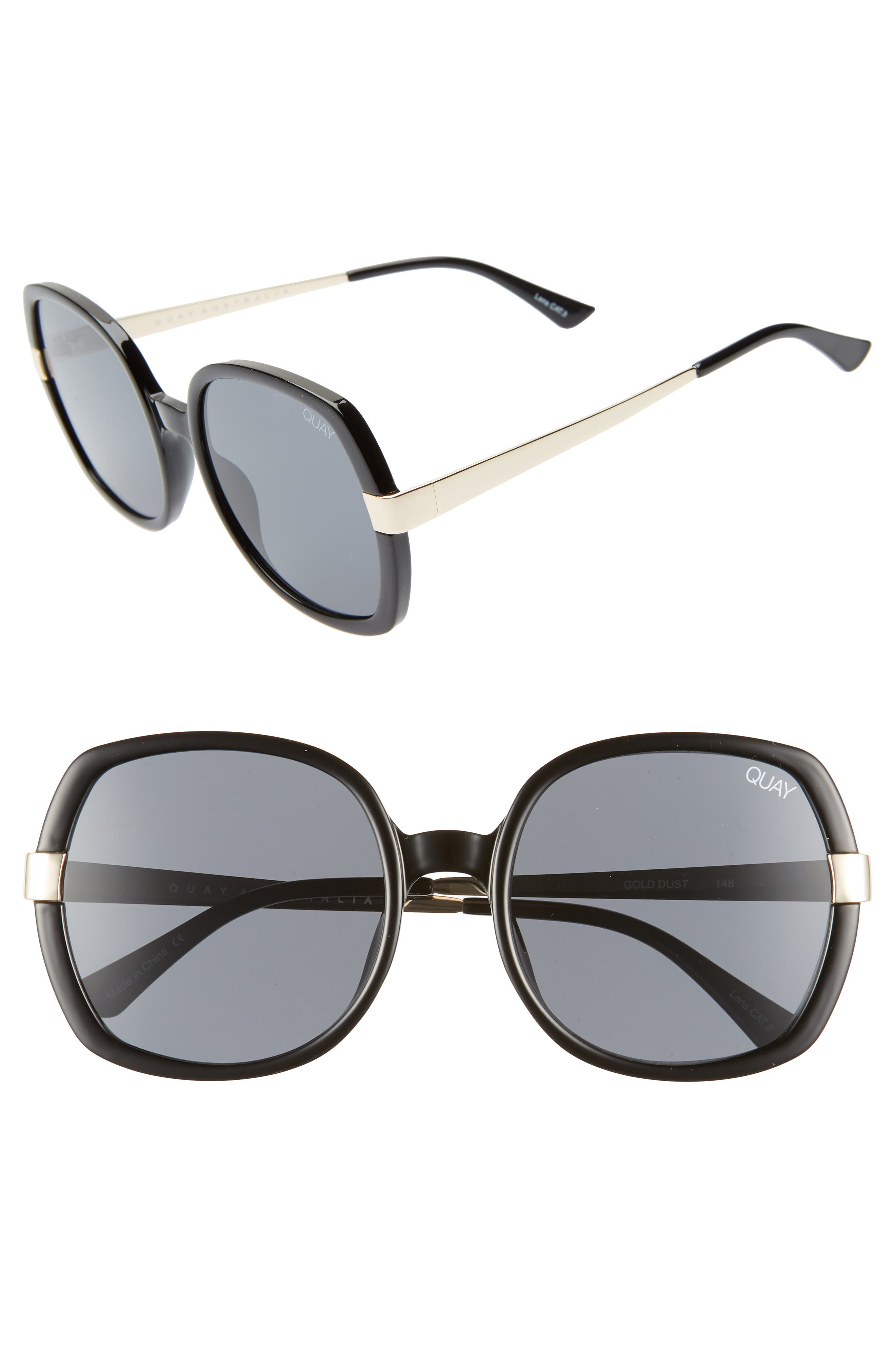 Quay Australia Gold Dust 55Mm Square Sunglasses - Black / Smoke