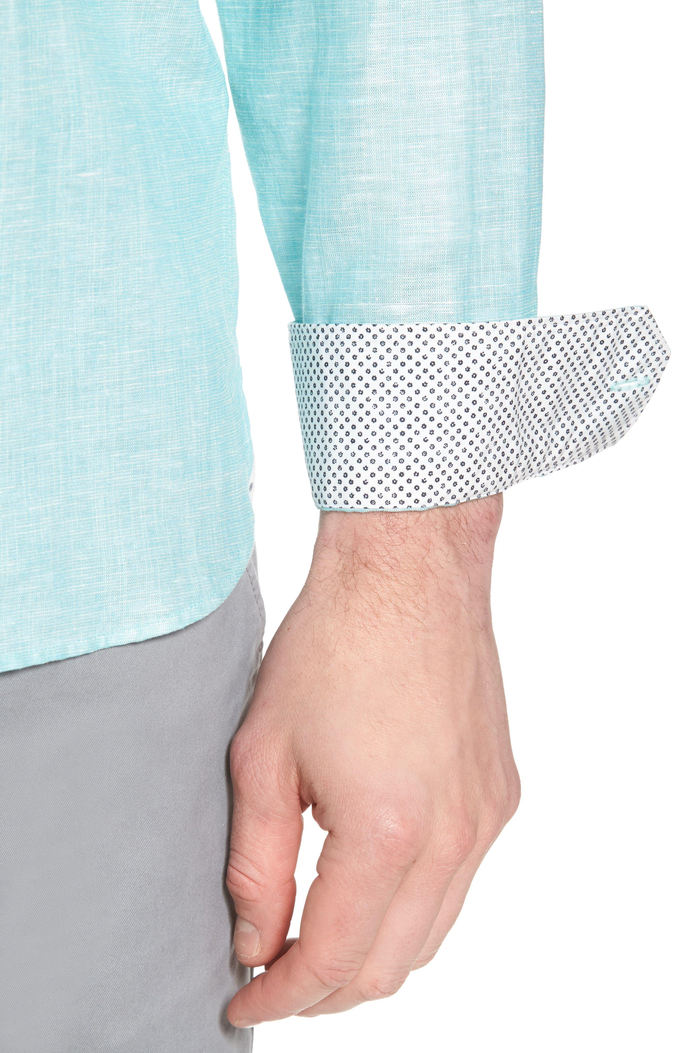 Linlins Herringbone Cotton & Linen Sport Shirt,                             Alternate thumbnail 17, color,