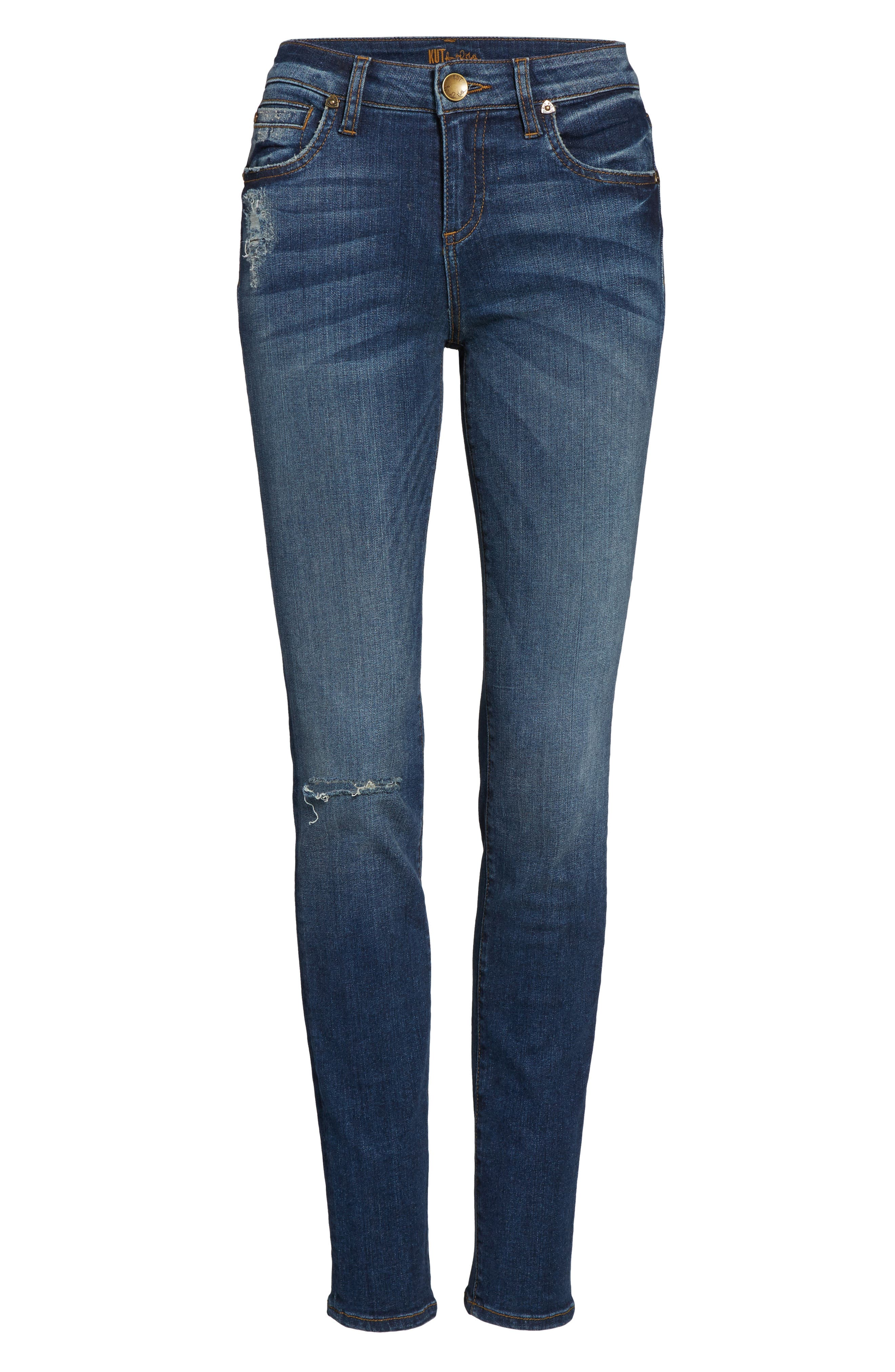 Diana Ripped Stretch Skinny Jeans,                             Alternate thumbnail 6, color,