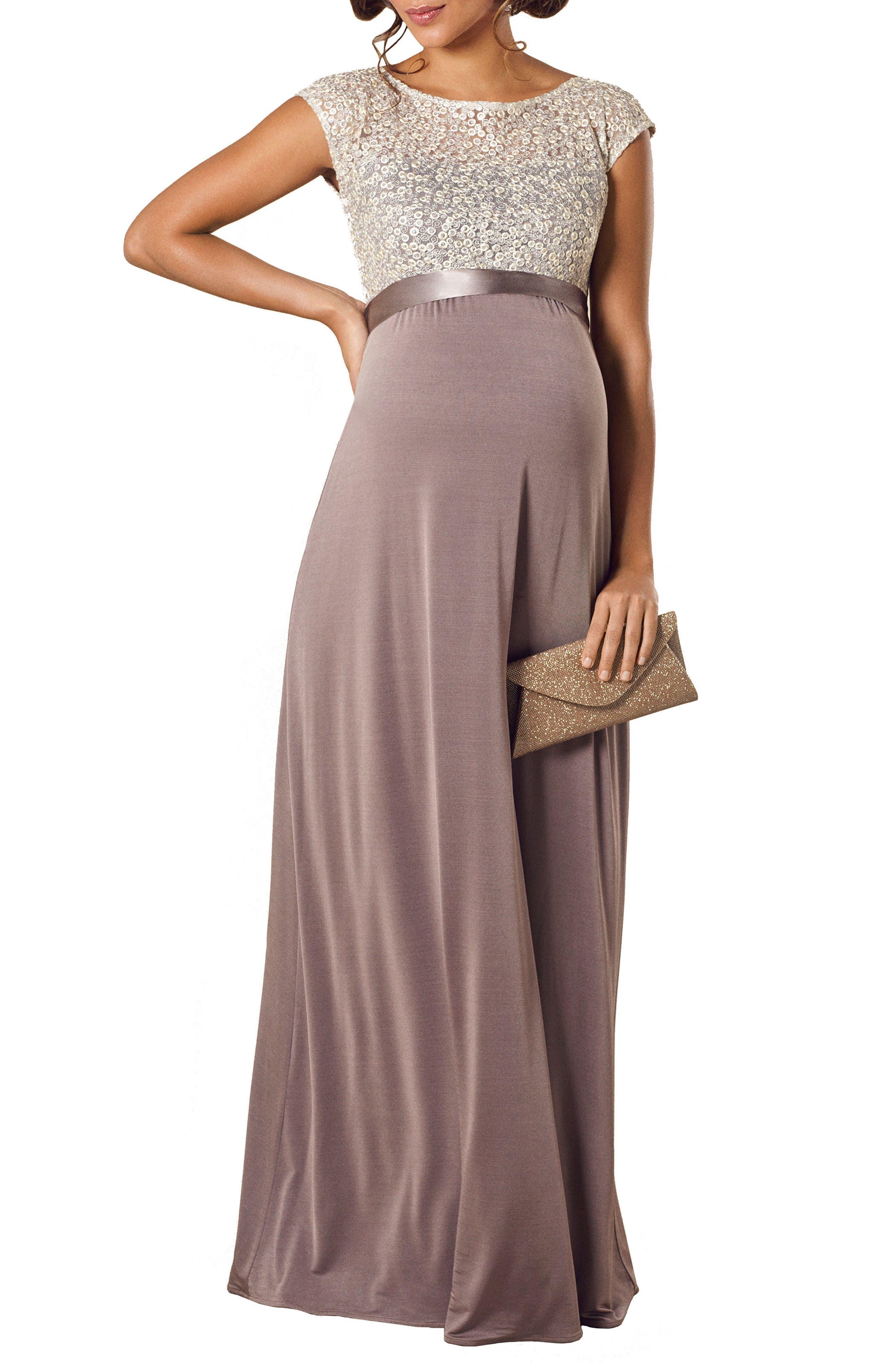 Mia Maternity Gown,                         Main,                         color, DUSKY TRUFFLE