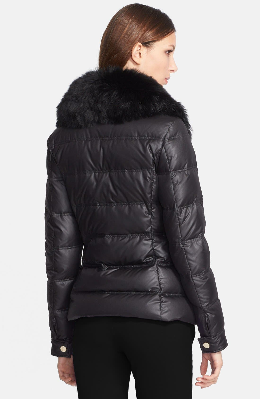 Down Puffer Jacket with Genuine Fox Fur Collar,                             Alternate thumbnail 4, color,                             001