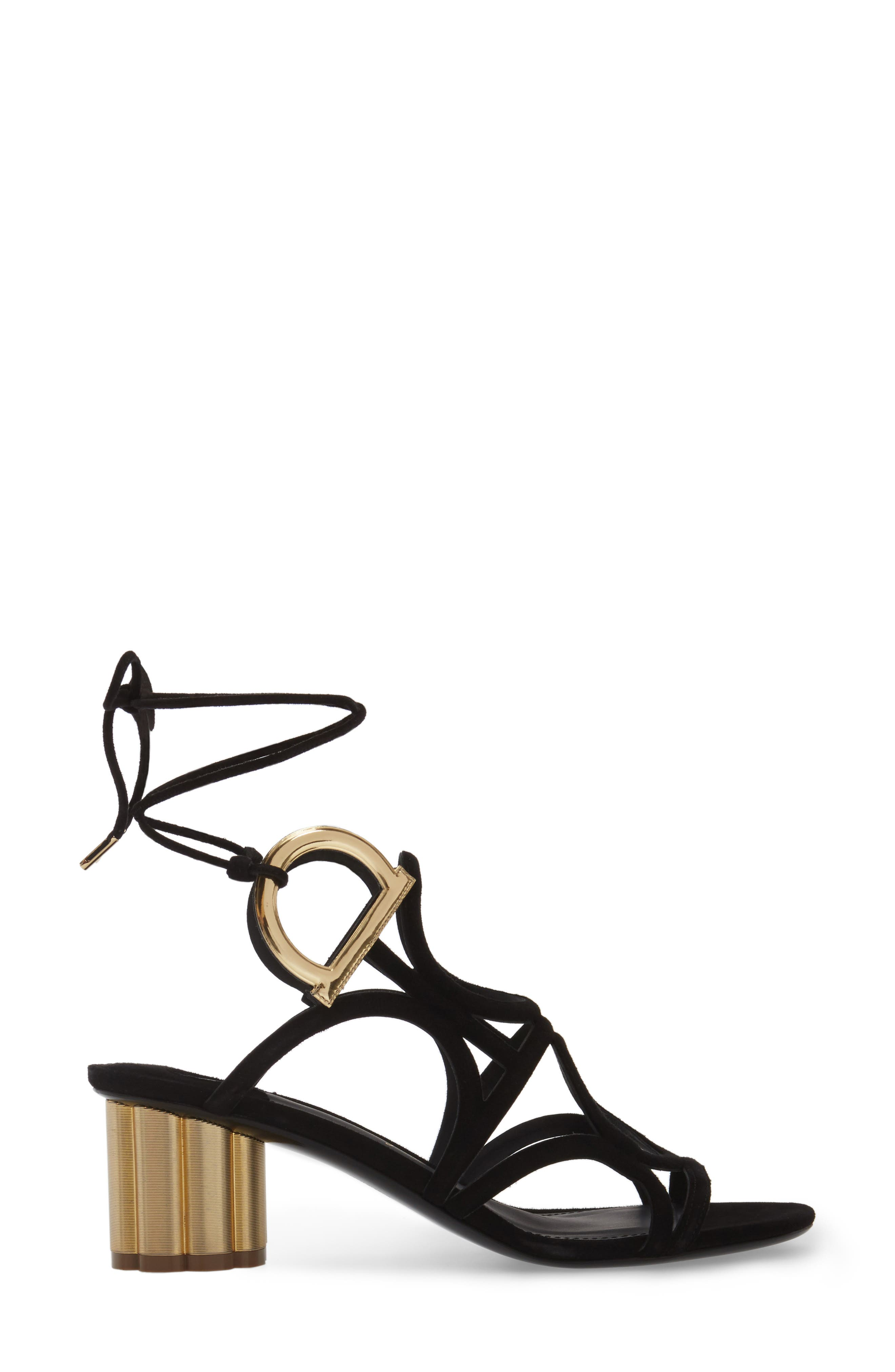 Vinci Lace-Up Block Heel Sandal,                             Alternate thumbnail 3, color,                             BLACK SUEDE