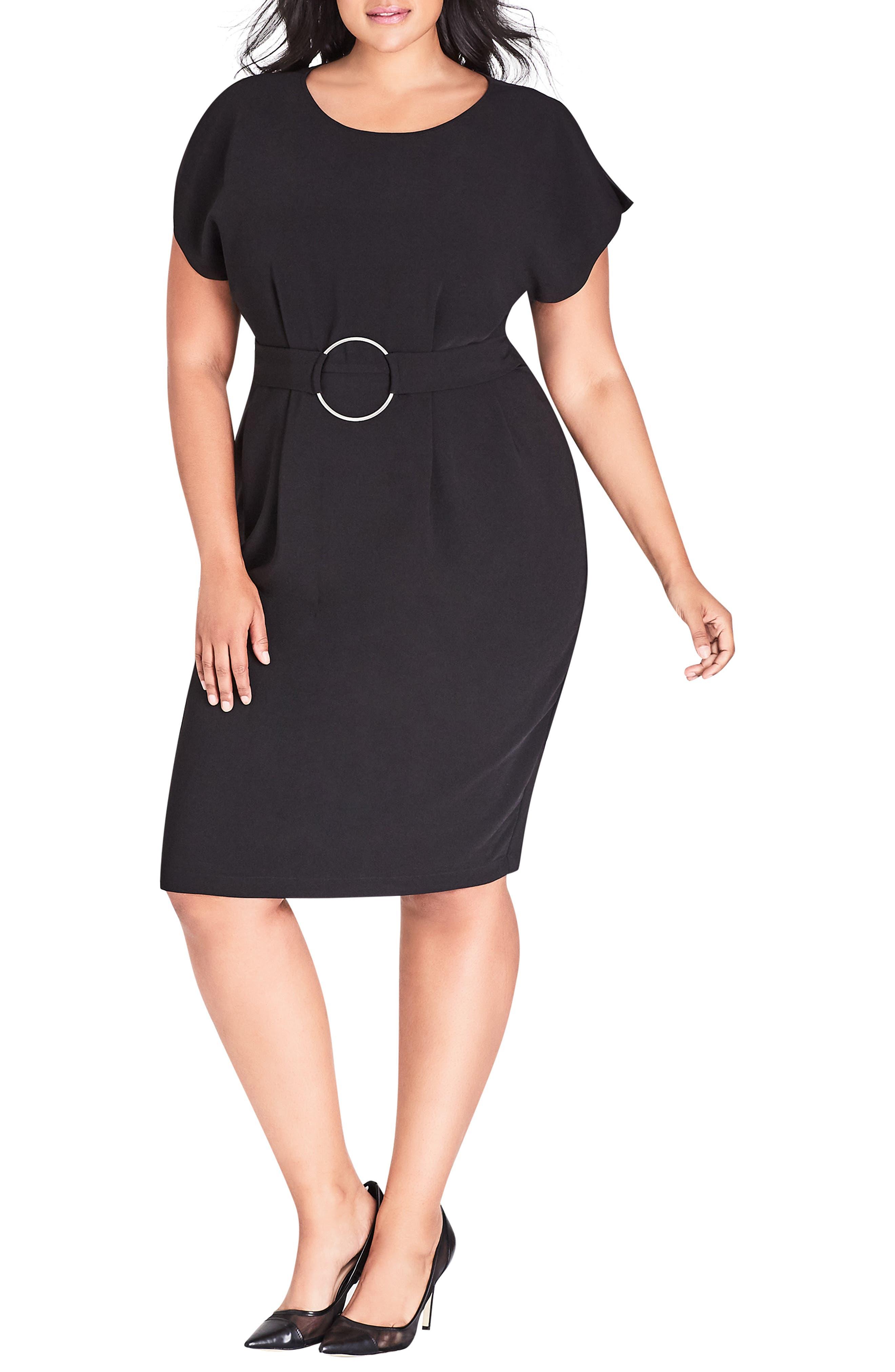 Plus Size City Chic Empower Belted Sheath Dress, Black