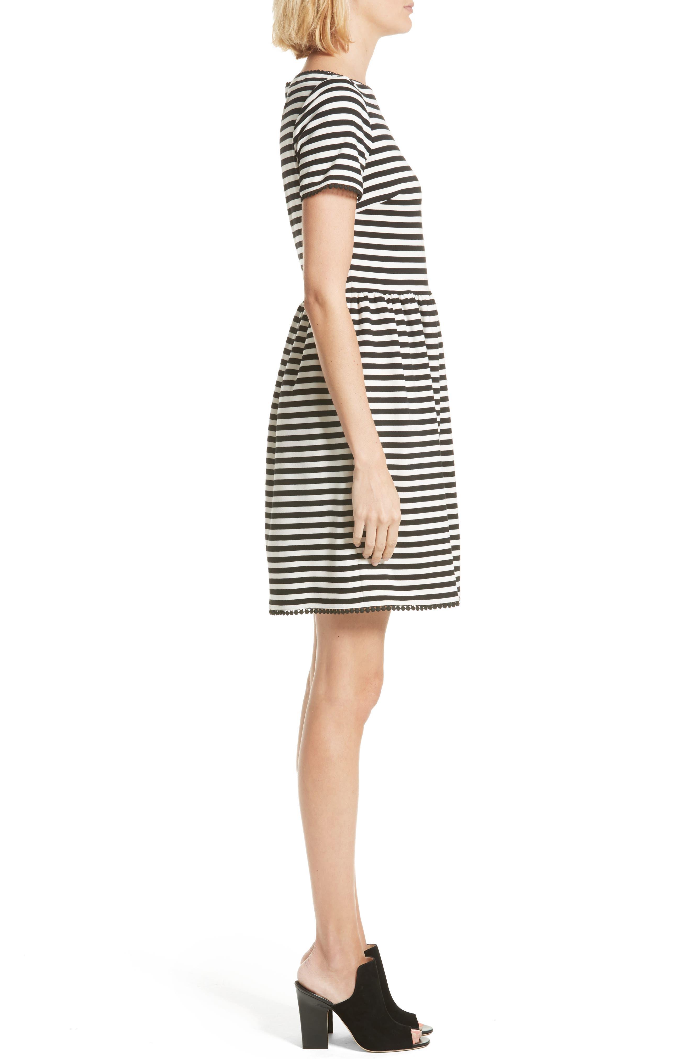 KATE SPADE NEW YORK,                             stripe ponte dress,                             Alternate thumbnail 3, color,                             900